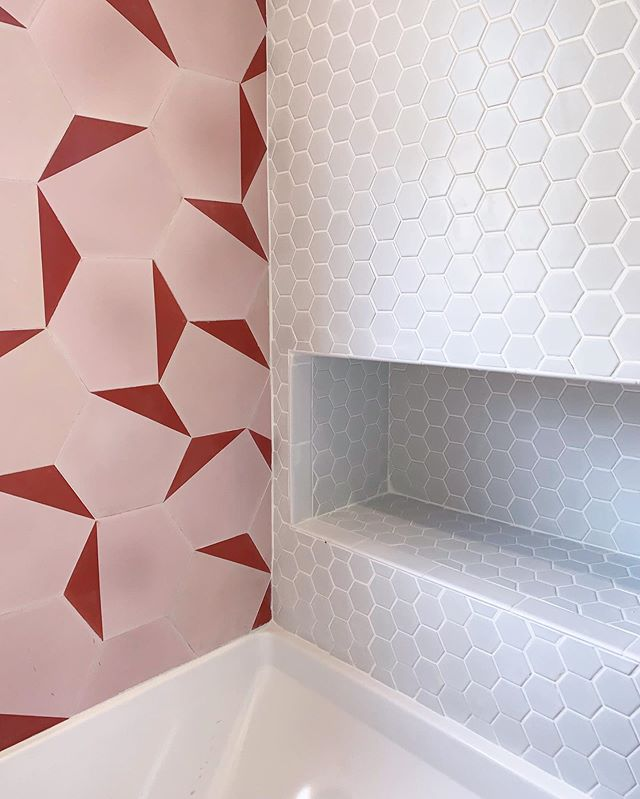 We can't wait for the full reveal of our latest #viewpark project when it's finished. No, we *literally* can't wait... so get ready for plenty of detail shots in the meantime! #pinkbathroom #comingsoon #clétile #modernhomes #viewpark #baldwinhills #southla #westadams #tileshower #homeinspo #milkshakelosangeles #mddecorinspo #luxeathome #rshome