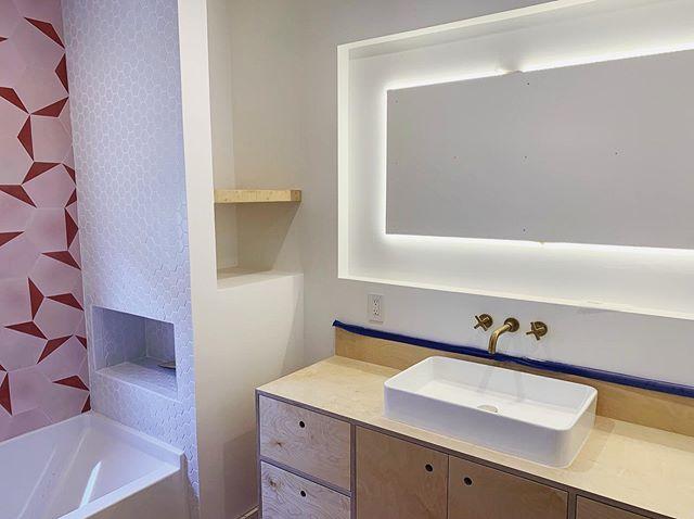 Lighting installed for the backlit mirror 💥 #modernbathroom #clétile #brushedbrass #modernhomes #renovation #homeremodeling #southla #showertile #viewpark #culvercity #milkshakelosangeles