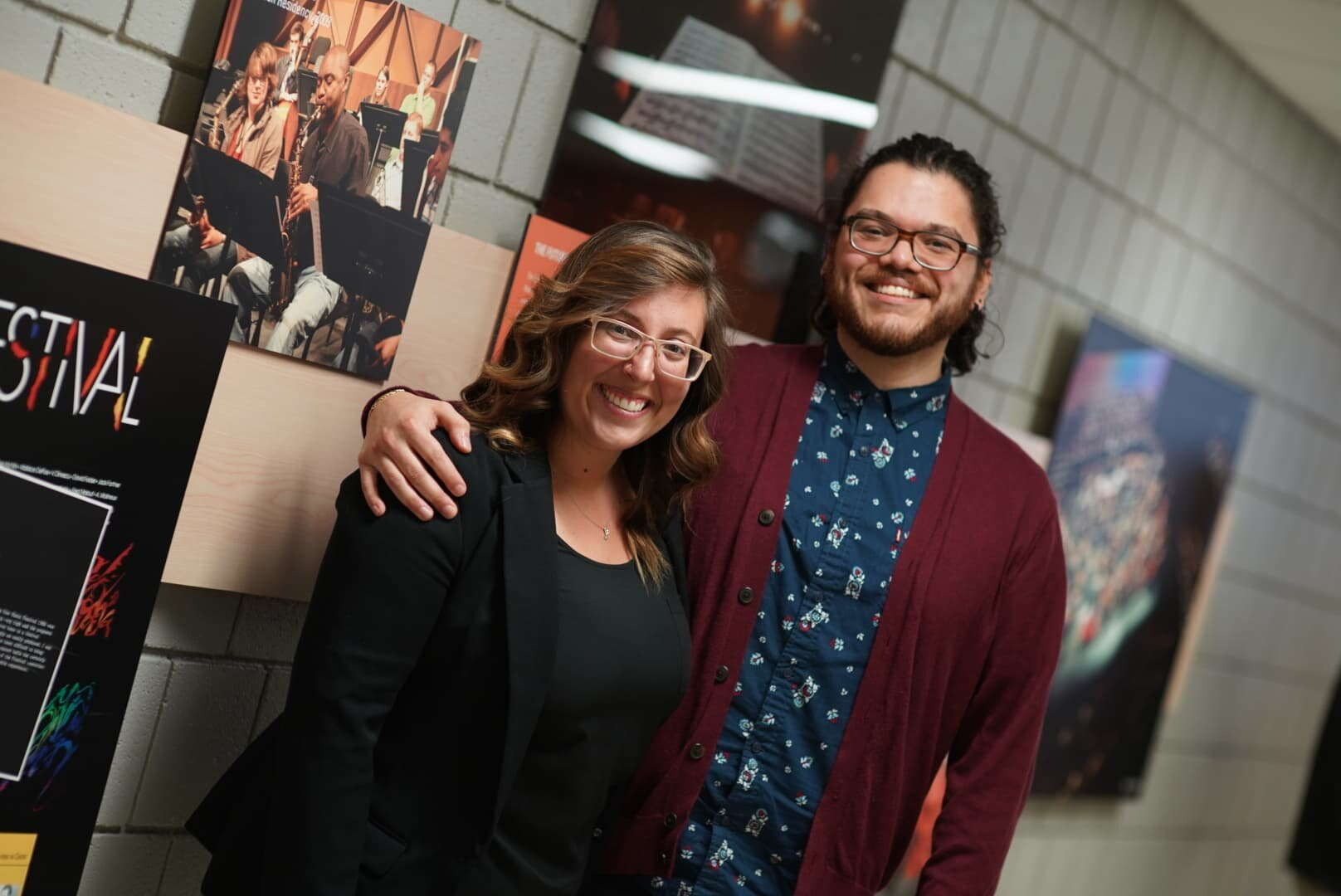 Allison Davis, conductor, and me, following the performance of  EL CHUPACABRA  by the Bowling Green State University Wind Symphony at BGSU's 40th New Music Festival (October 17, 2019). Photograph by Stephen Hennessey.