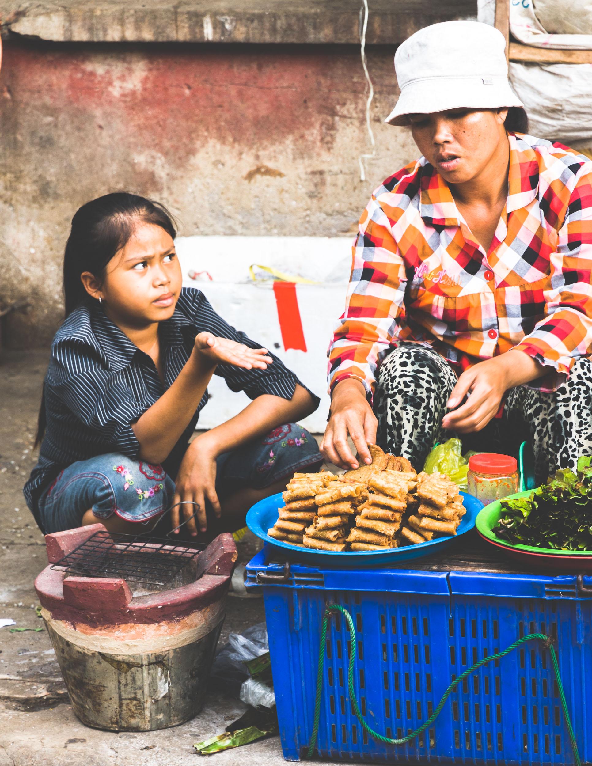 Street seller in Cambodia