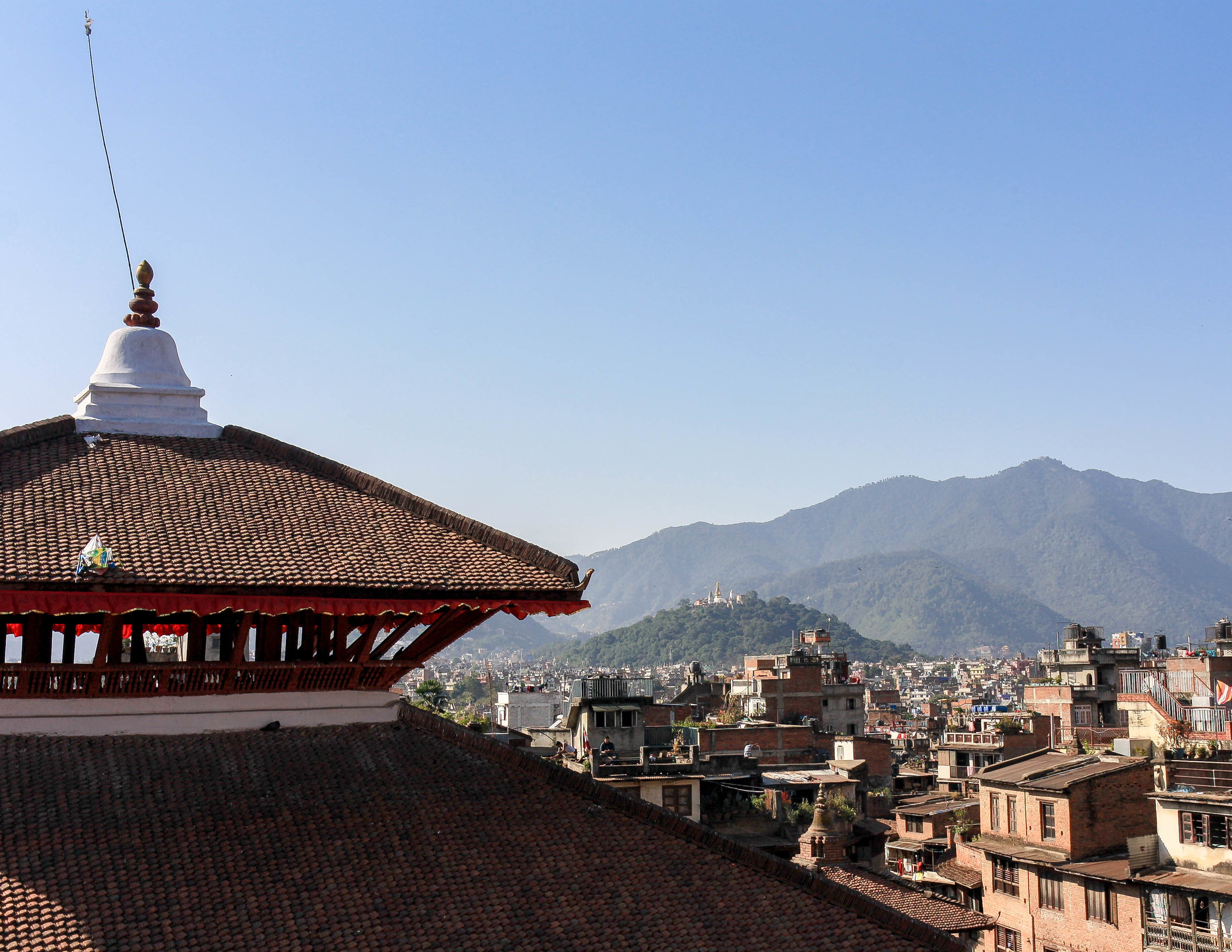 Best things to do in Nepal: roof top cafe, Durbar Square Kathmandu
