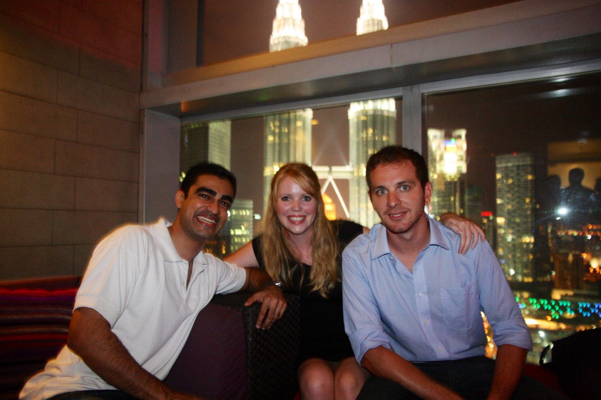 Cat & I with our friend Niren at a Sky Bar in Kuala Lumpur