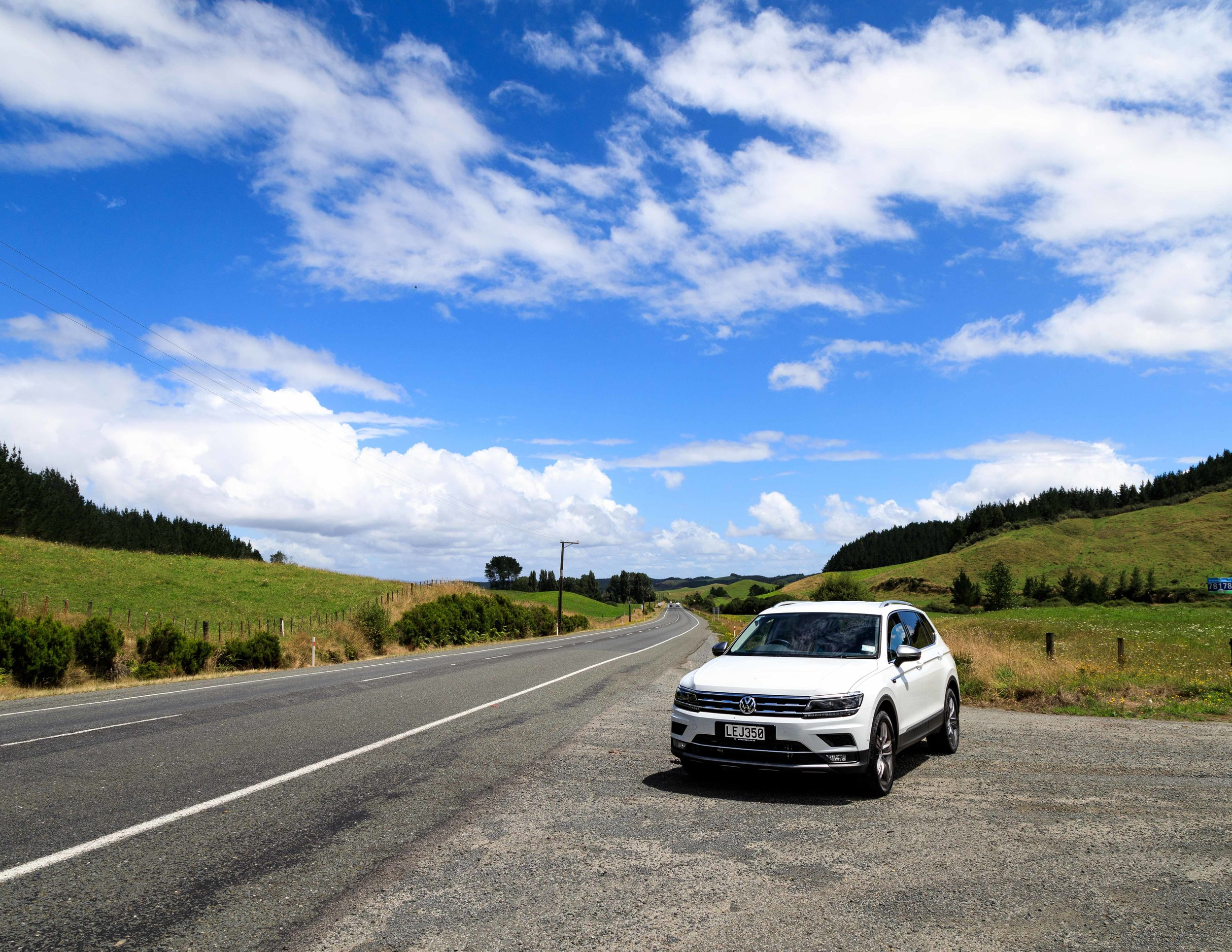 One of the many green and picturesque roads on the North Island of New Zealand