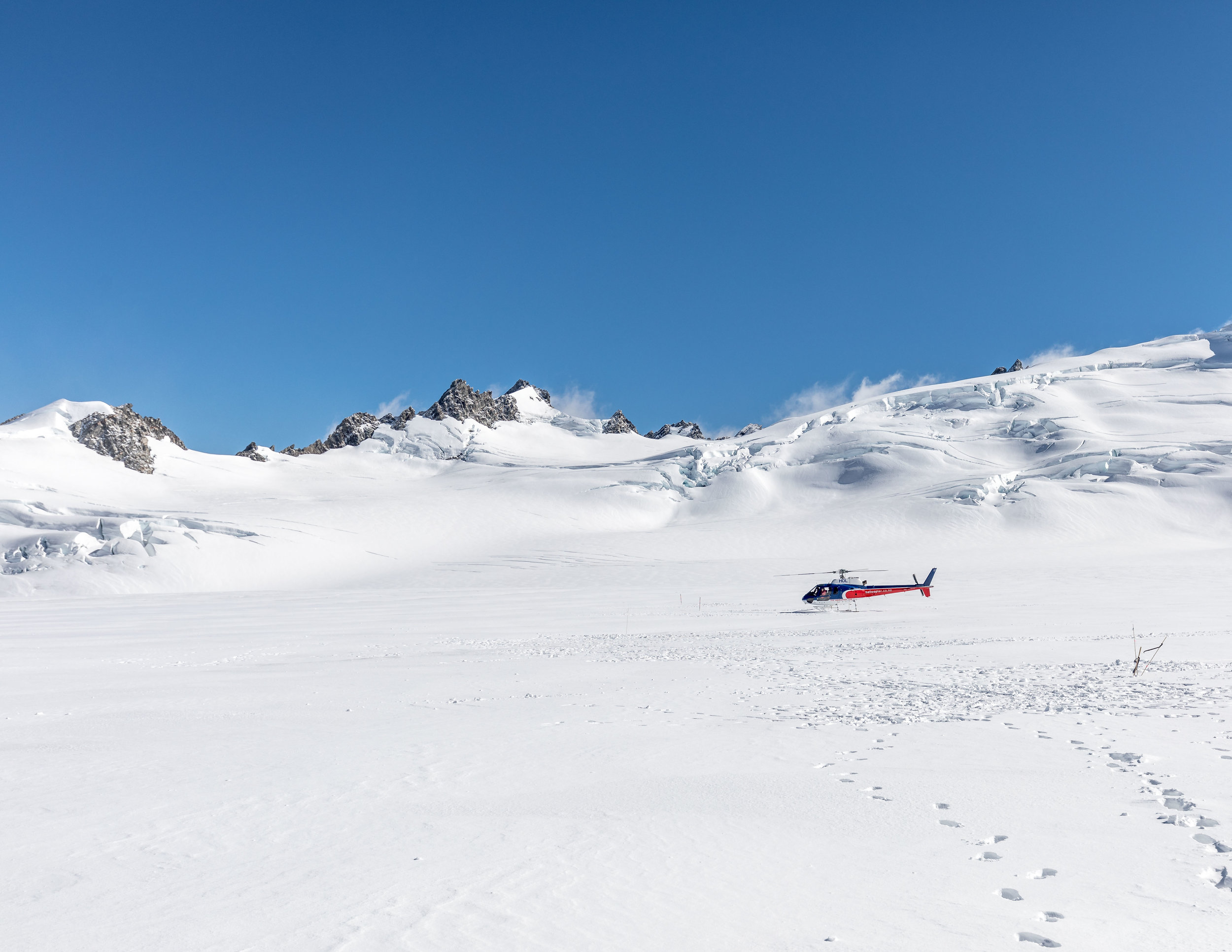 Helicopter on Fox Glacier, New Zealand