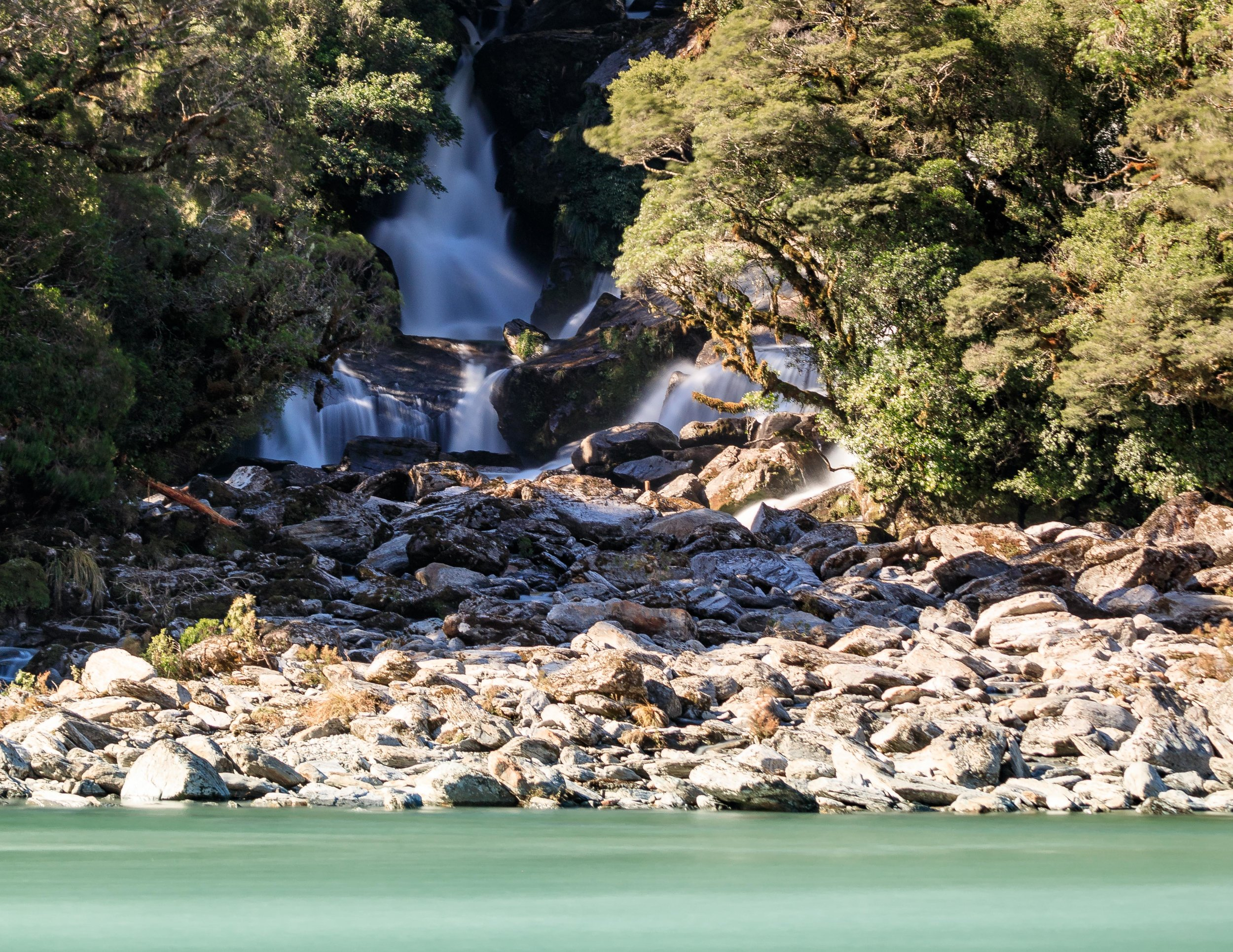 Roaring Billy Falls, one of the random but stunning stops along the road. Check out that milky water!