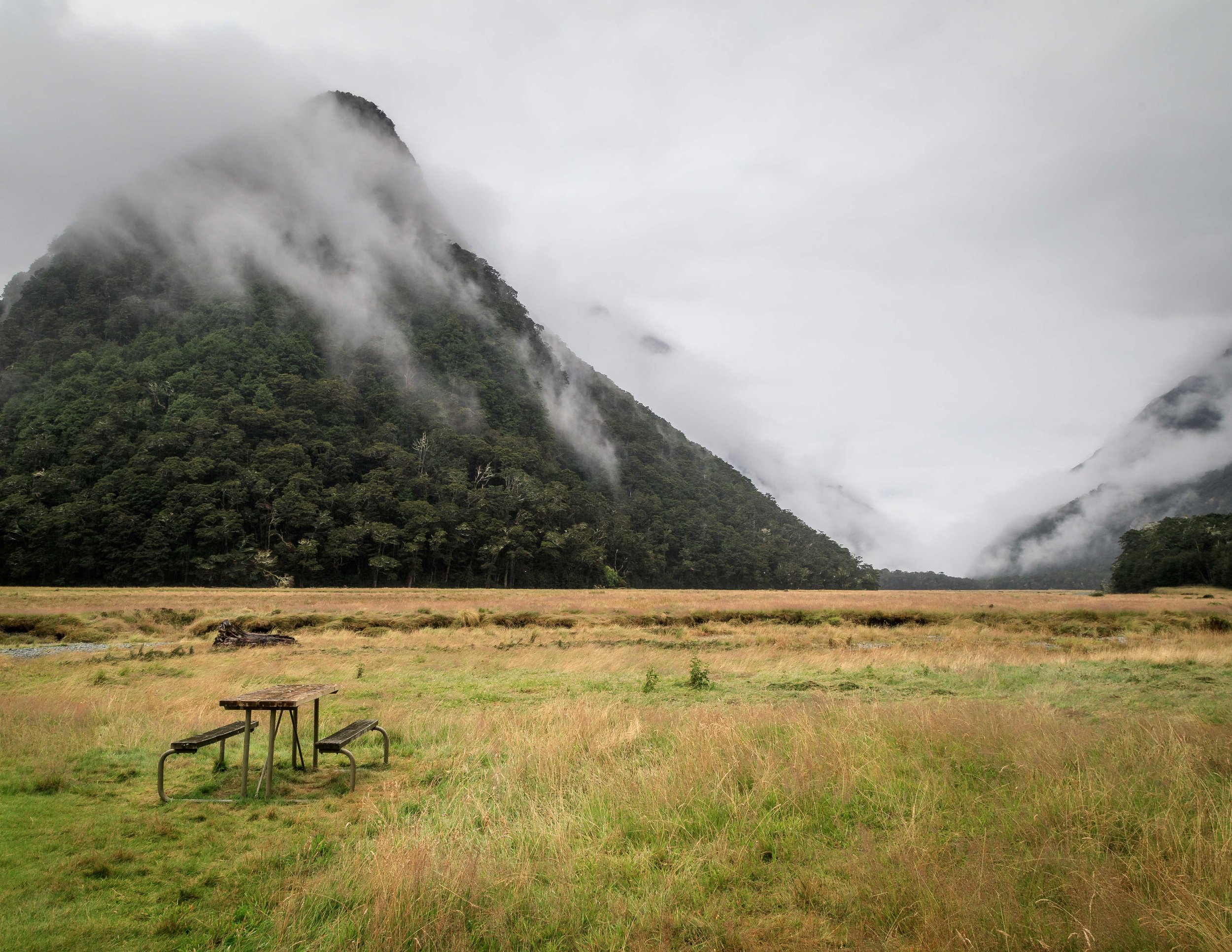 Routeburn Flats: Home of the greatest picnic bench in the world