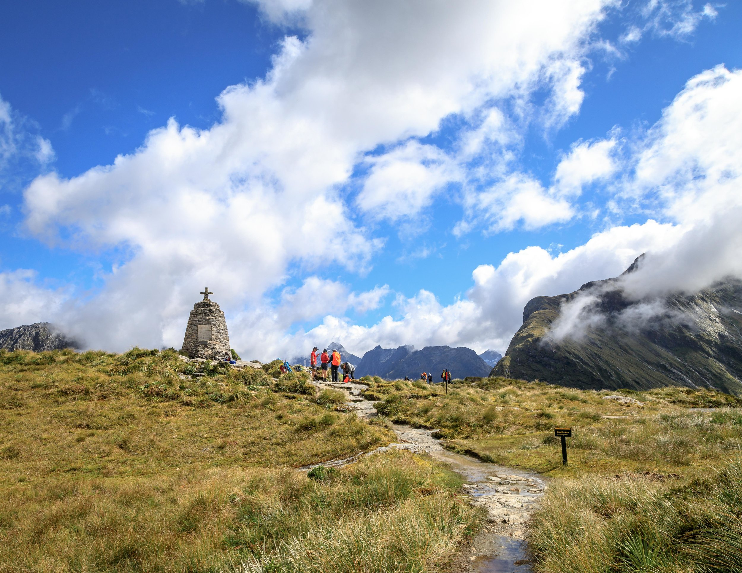 The Milford Track: The memorial at the MacKinnon Pass