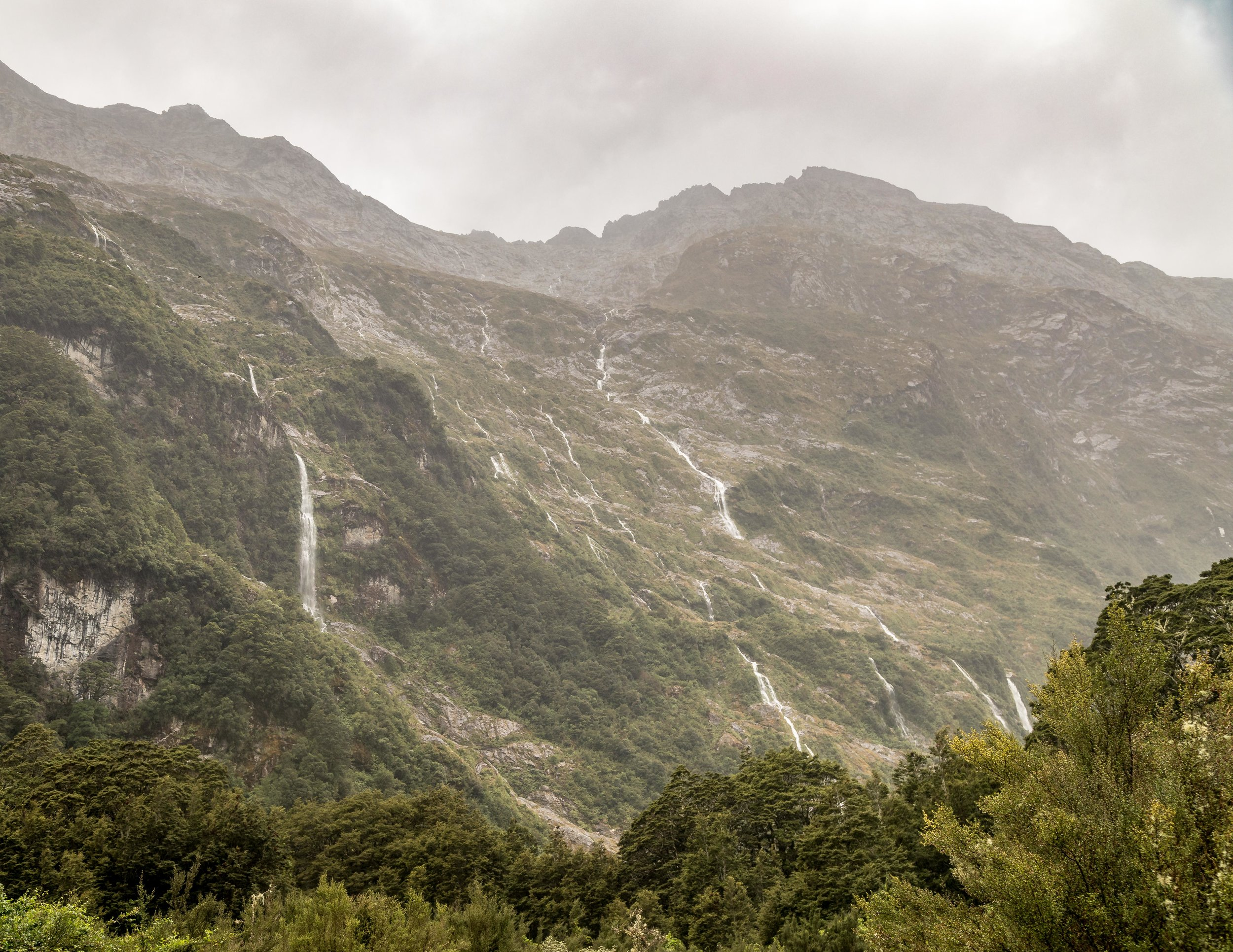 Clinton Valley Waterfalls on the Milford Track