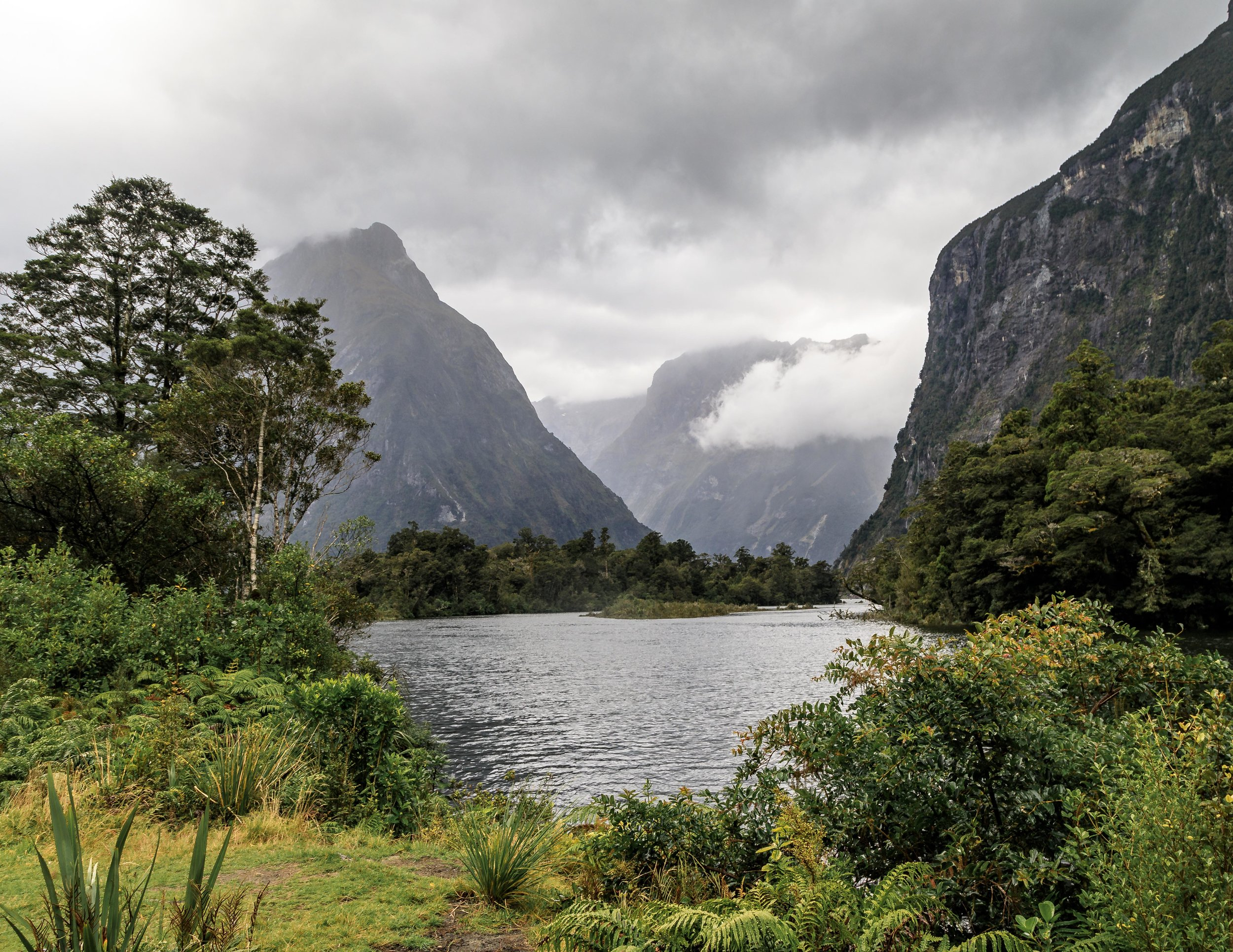 A glimpse of Milford Sound from the Milford Track