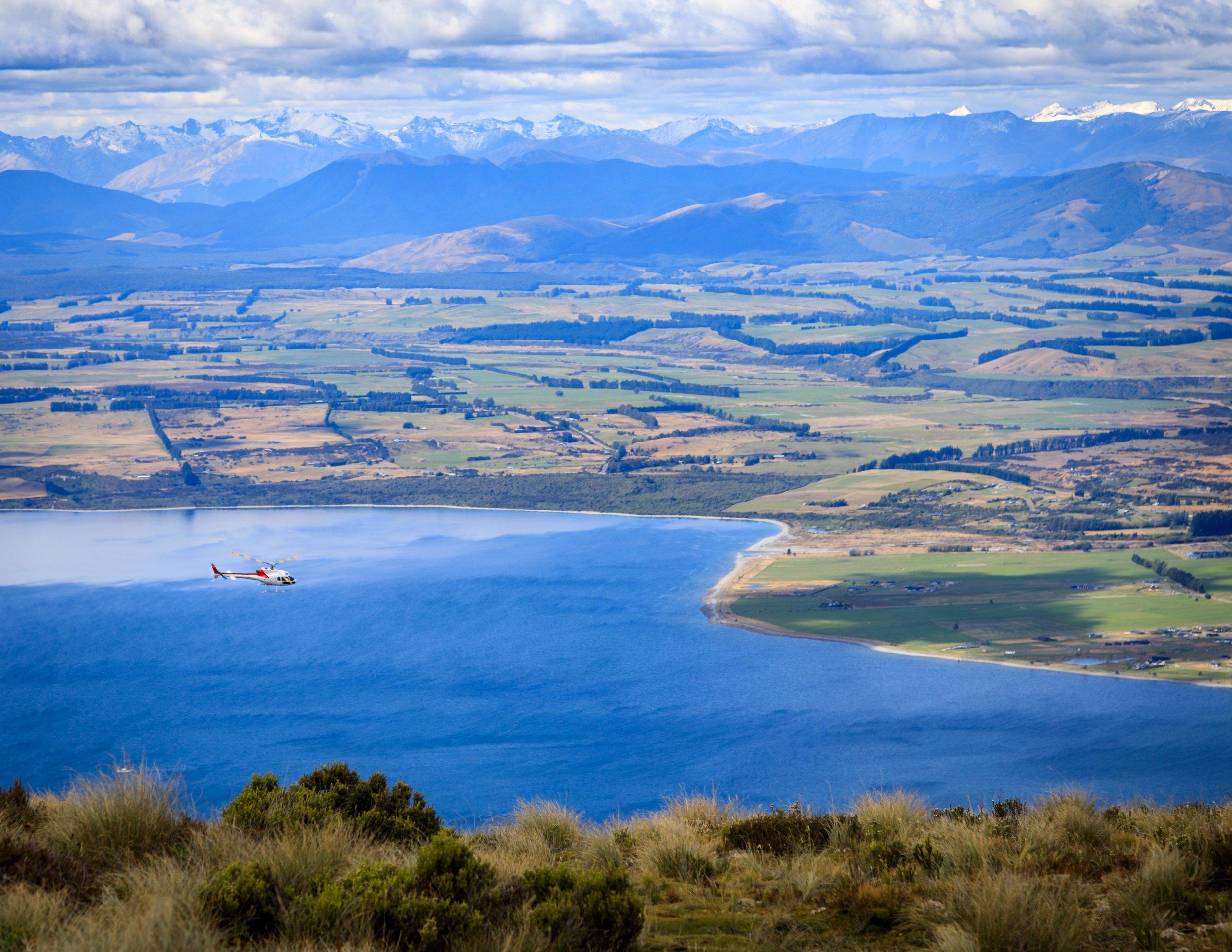 Helicopter over Lake Te Anau