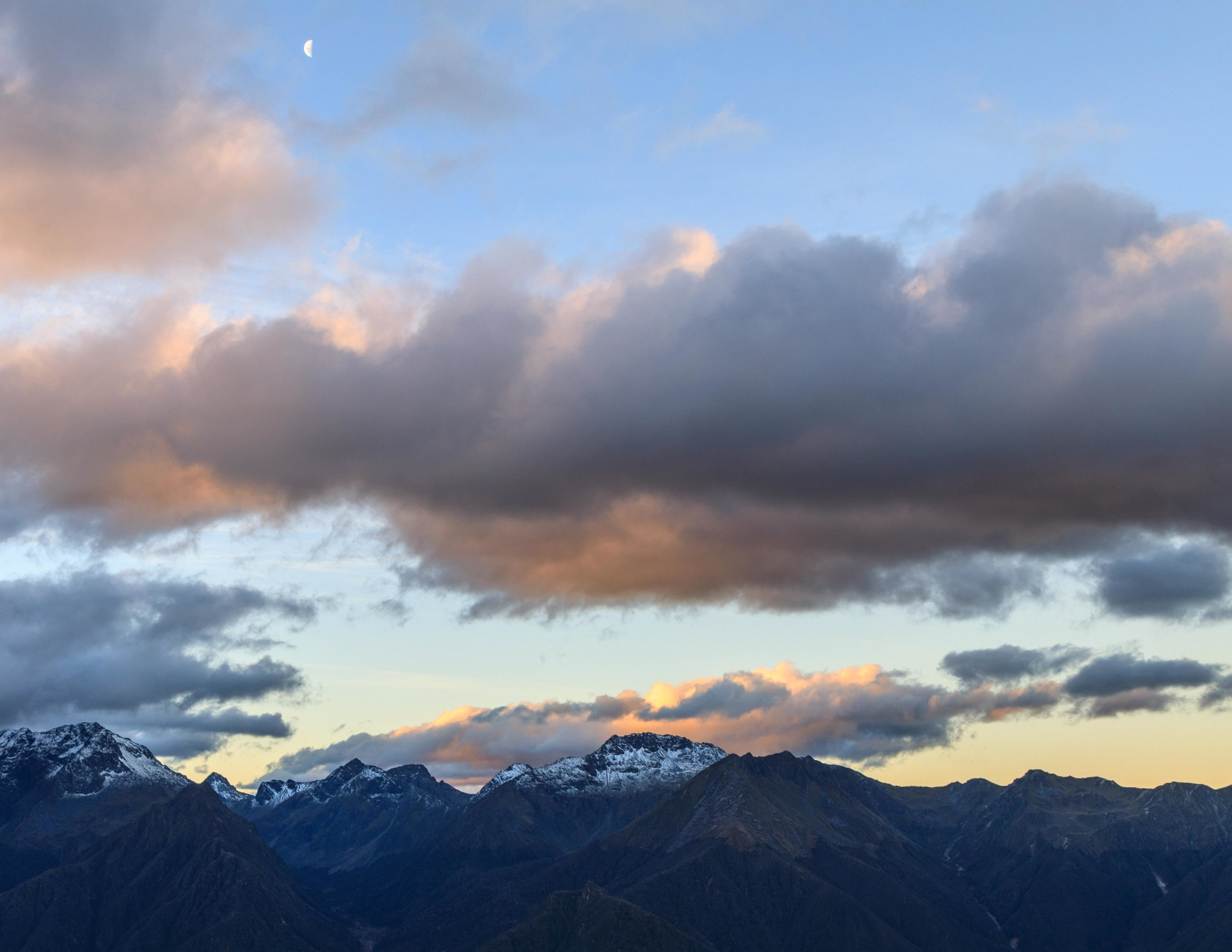 The view from Luxmore Hut at sunset