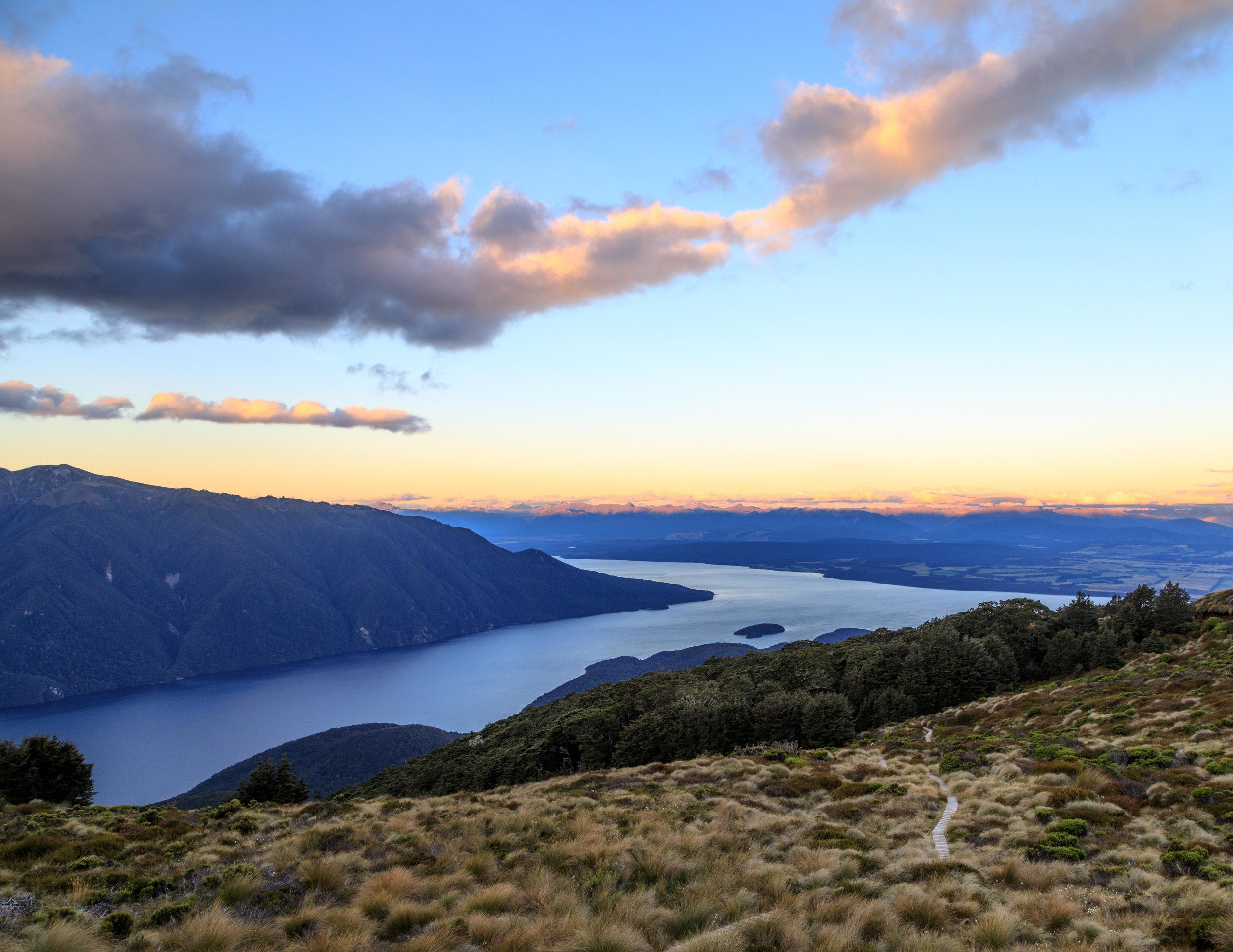 Sunset over Lake Te Anau from Luxmore Hut