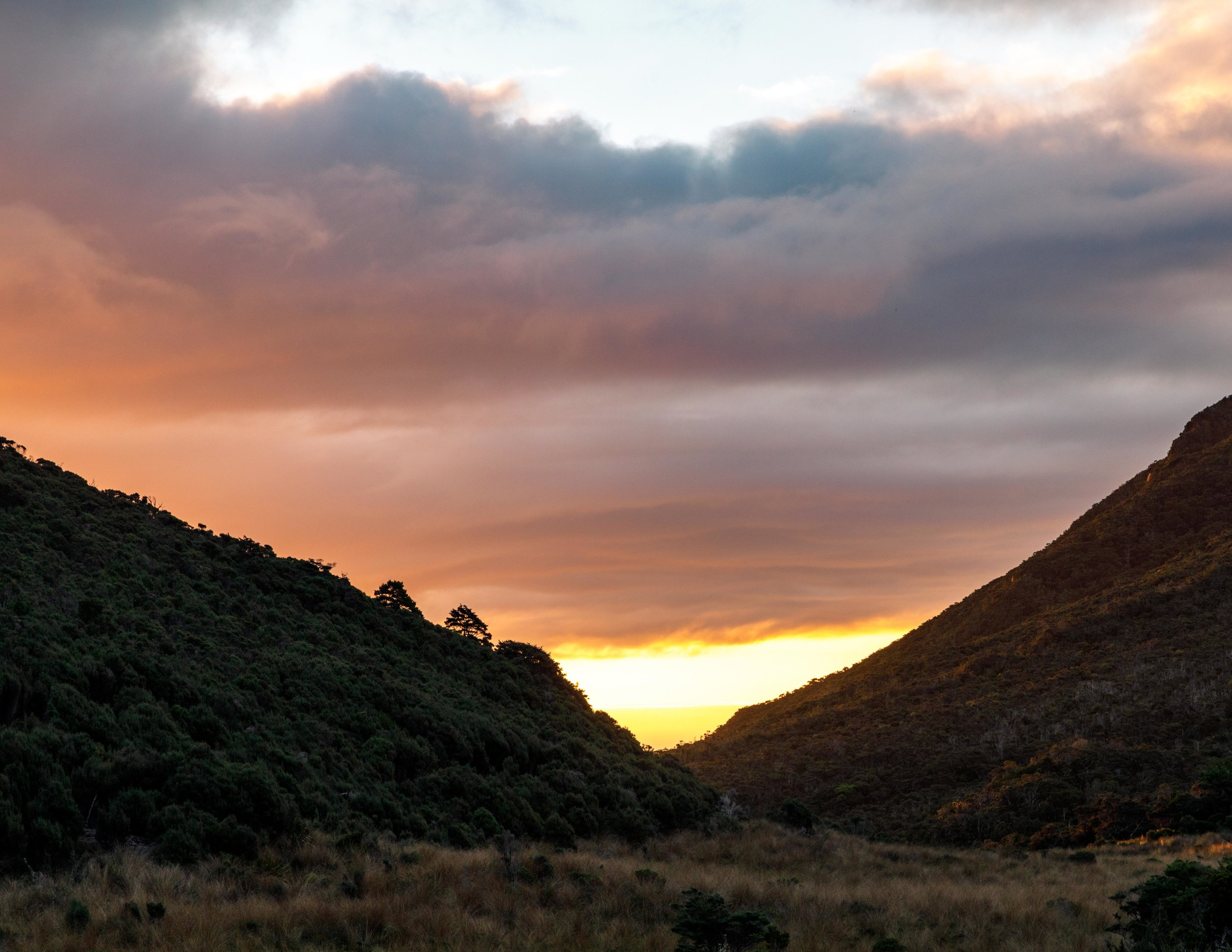 Sunset at Perrys Saddle Hut: The Heaphy Track