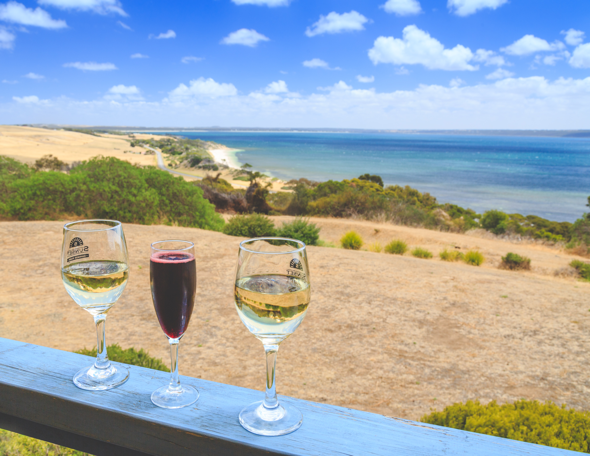 Wine with a view at Sunset Food and Wine, Kangaroo Island
