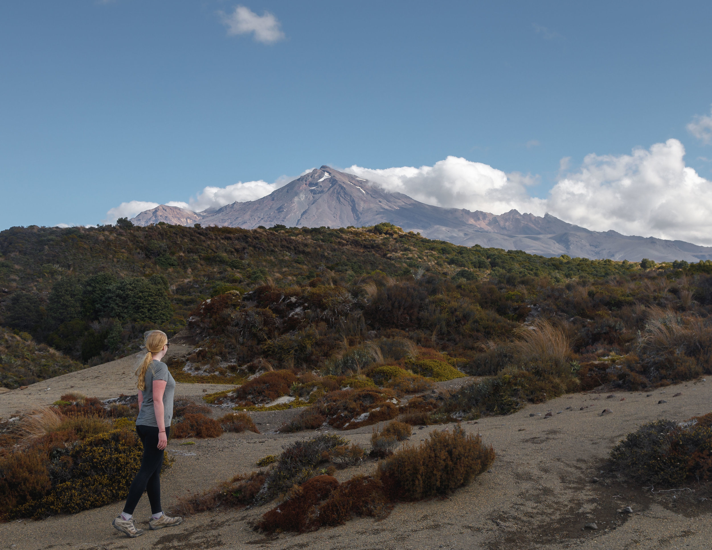 The view when you first see Mount Ruapehu when the clouds clear