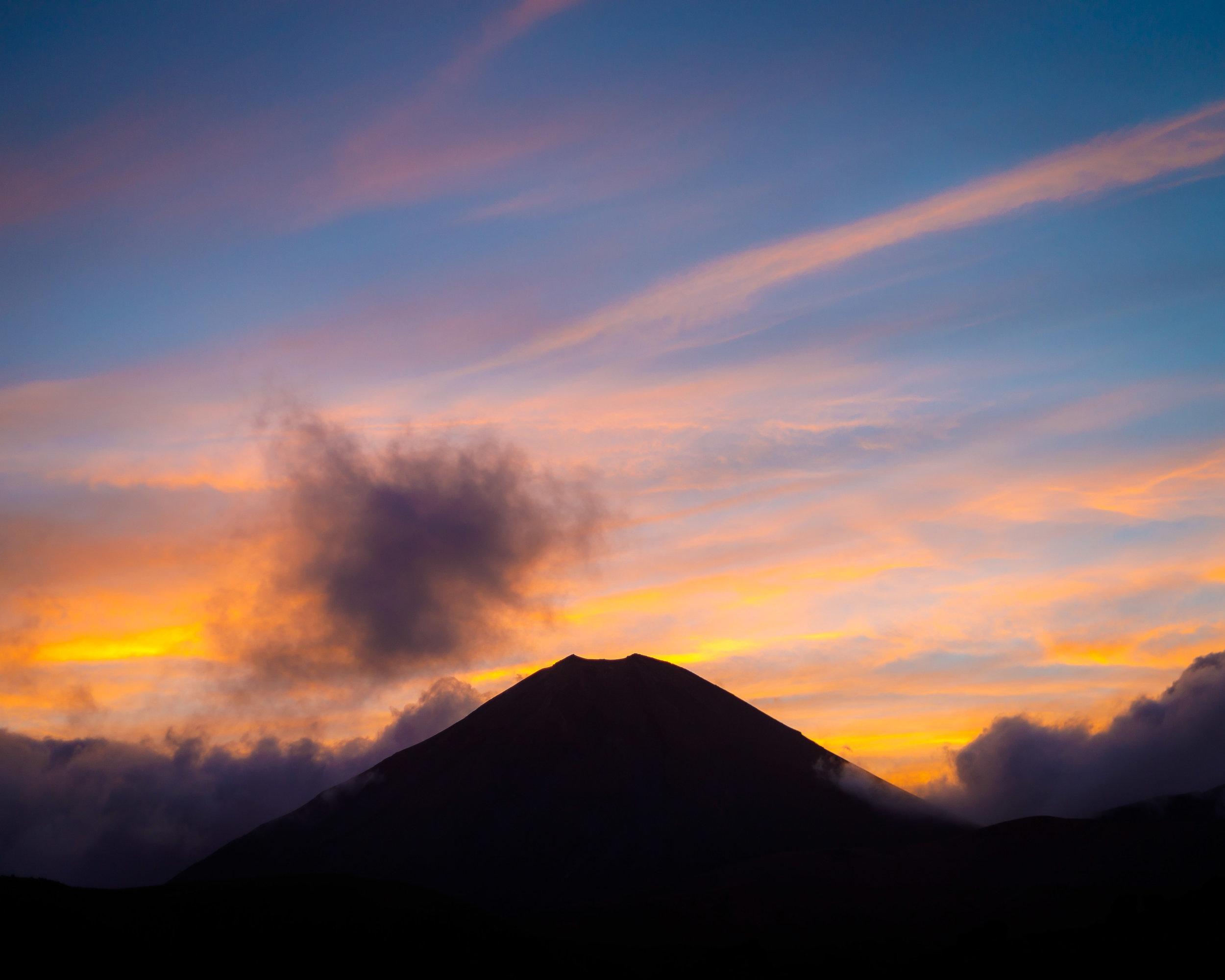 Mount Ngauruhoe at sunset