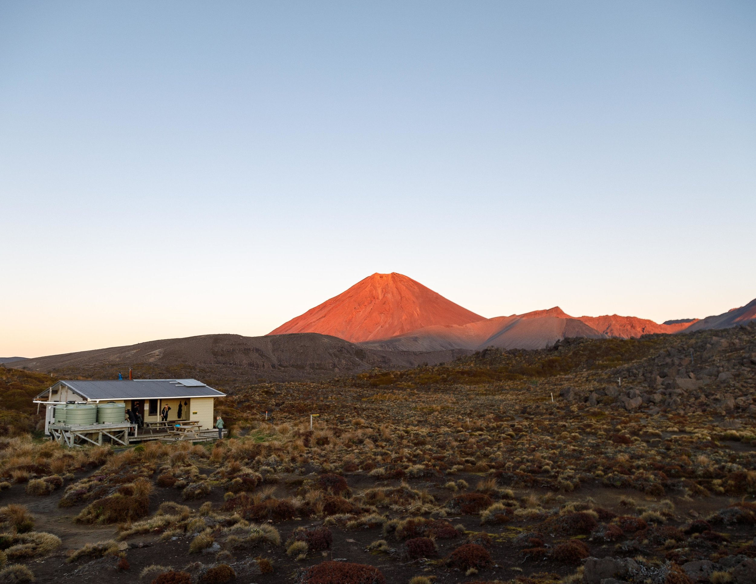 The view to show how special Oturere Hut is at sunrise