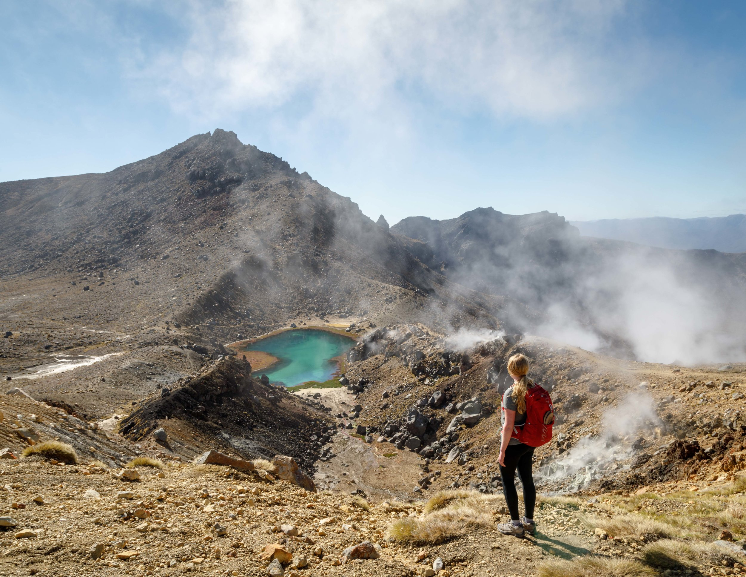 One of the Emerald Lakes from the climb up to the Red Crater
