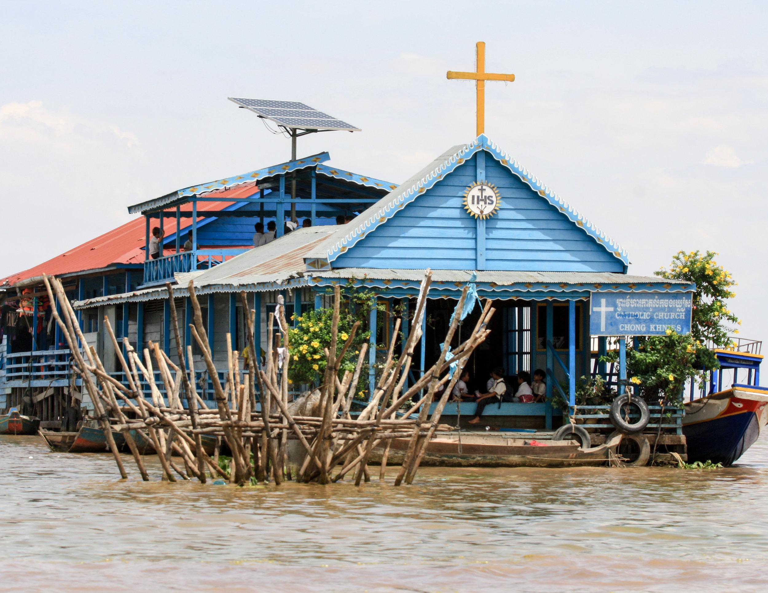 A church on stilts on Ton Le Sap Lake