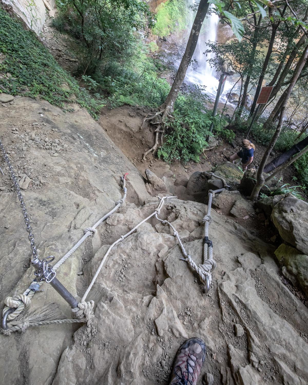 The ropes at Pipa Cave Waterfall