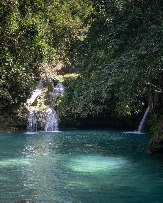 The waterfalls at level 2 in Kawasan Falls, Cebu City, The Philippines