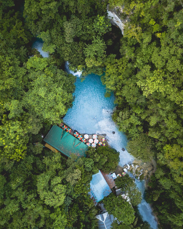 Drone photo of Kawasan Falls, Cebu, The Philippines
