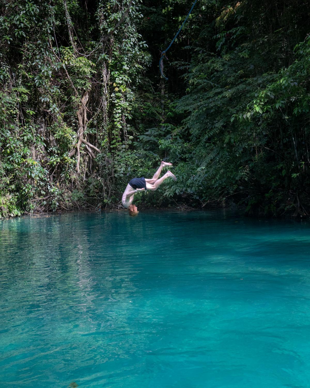 Swing jumpers at Kawasan Falls, Cebu, The Philippines