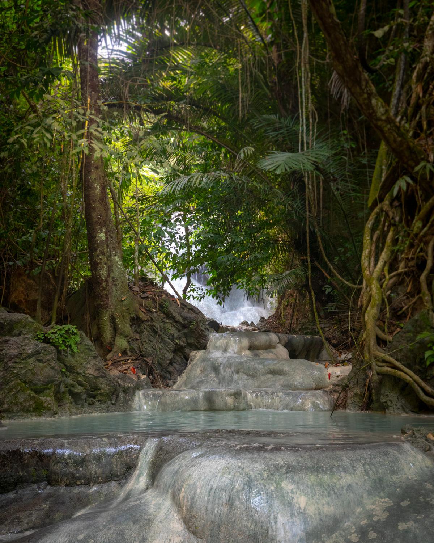The jungle covered Aguinid Falls