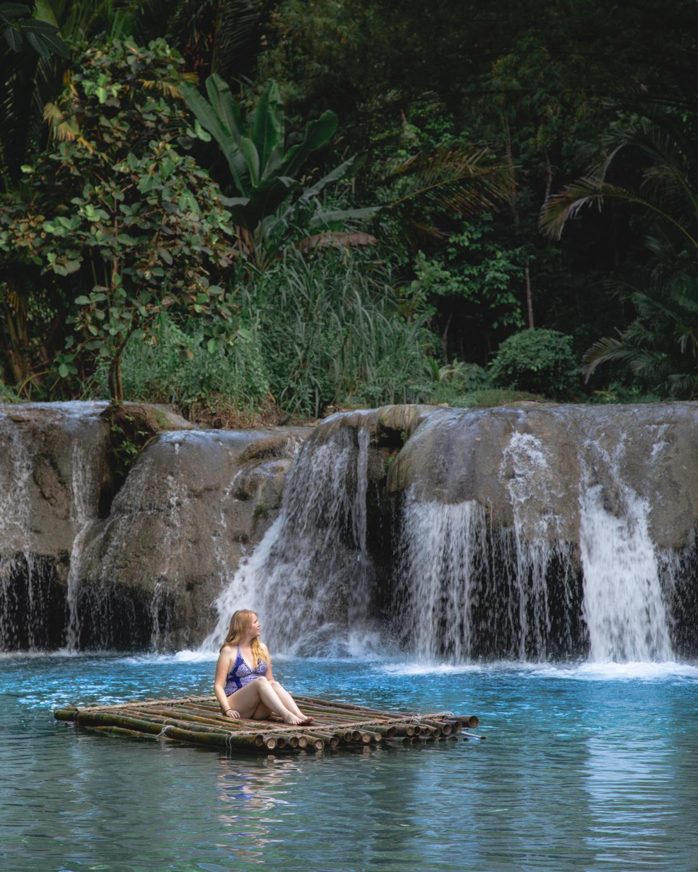 The rafts at Cambugahay Falls Siquijor
