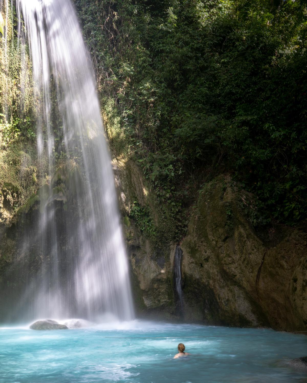 Going for a dip at Inambakan Falls