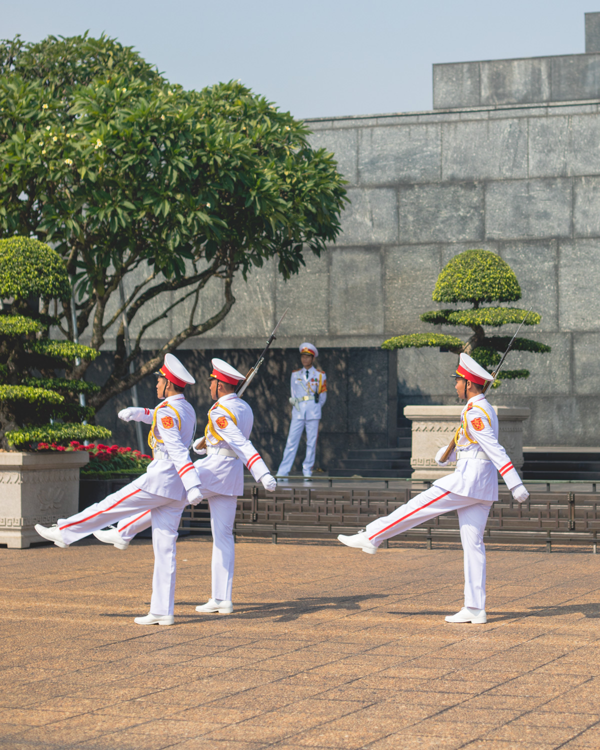 Changing of the guard at Ho Chi Minh's Mausoleum.