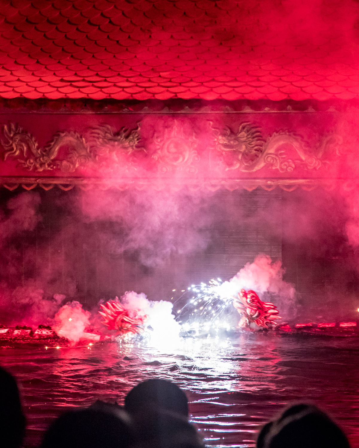 The fireworks of the water puppets in Hanoi.