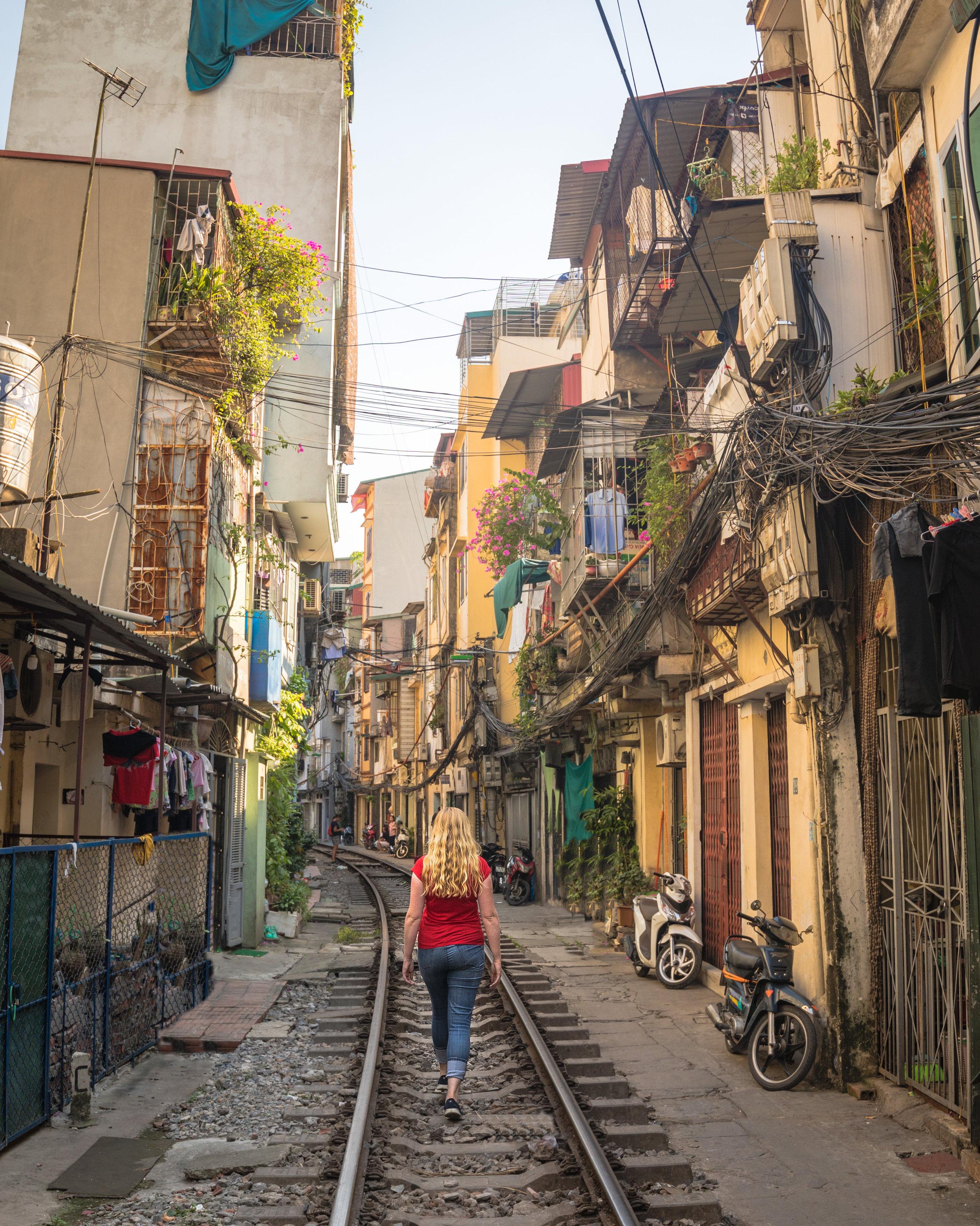 The famous train street in Hanoi.