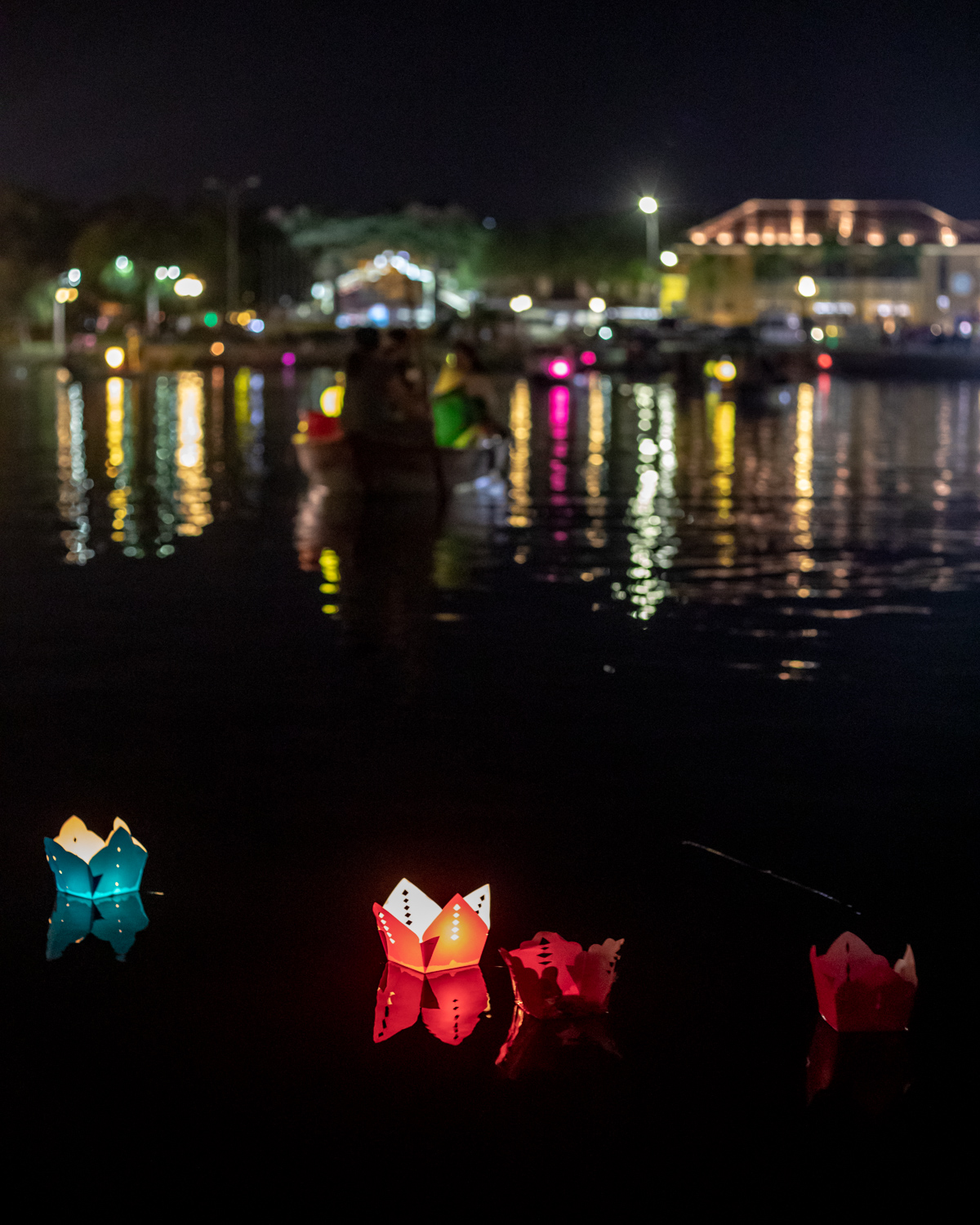 The lanterns in the water at night - not during the lantern festival