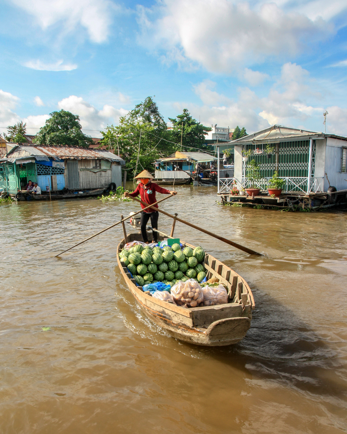 The floating market on the Mekong Delta