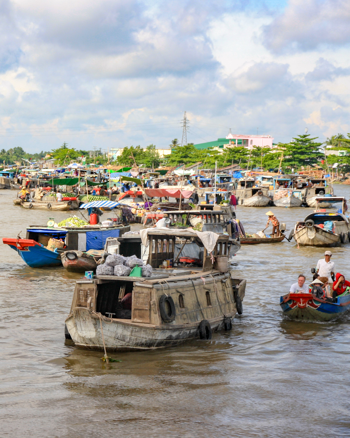 The floating market in the Mekong Delta, Vietnam