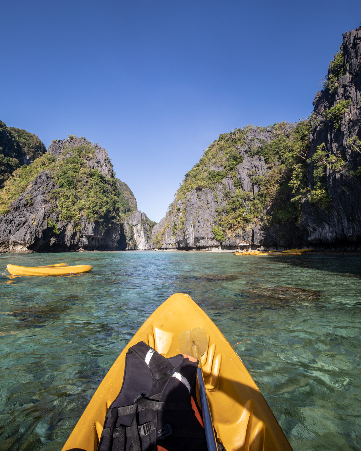 The kayaks at low tide