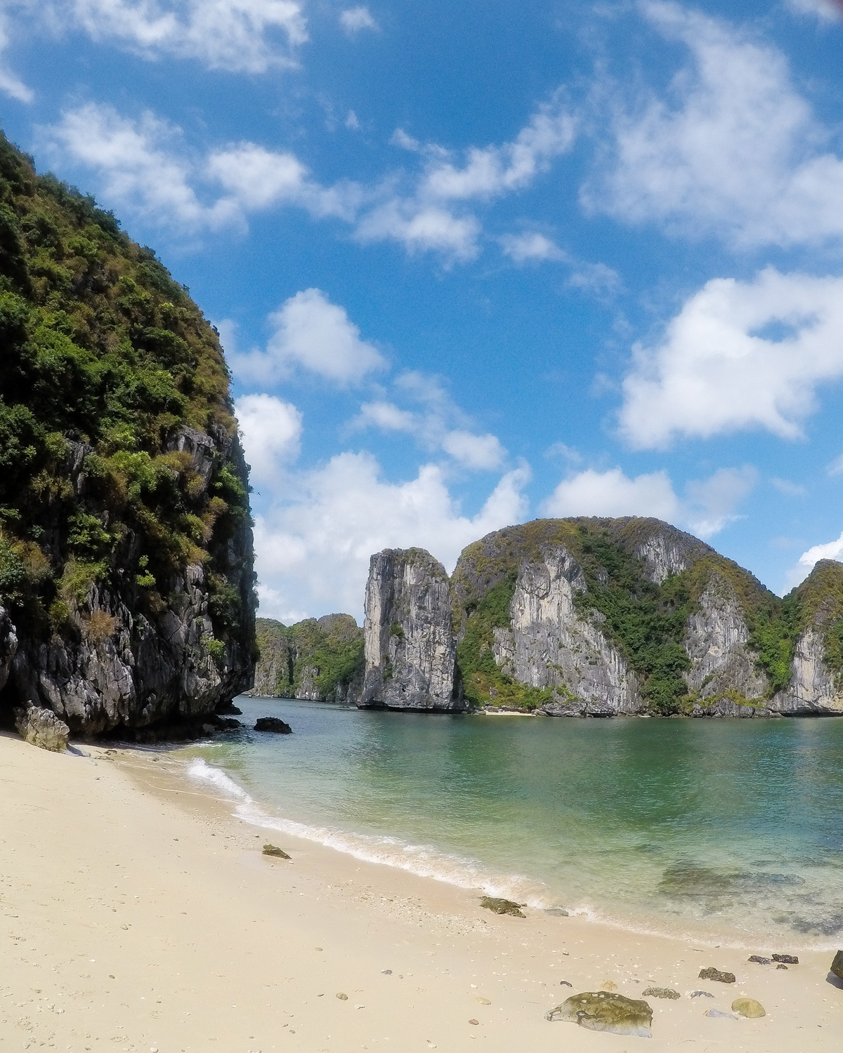 Just one of the beautiful beaches you can kayak to in Lan Ha Bay
