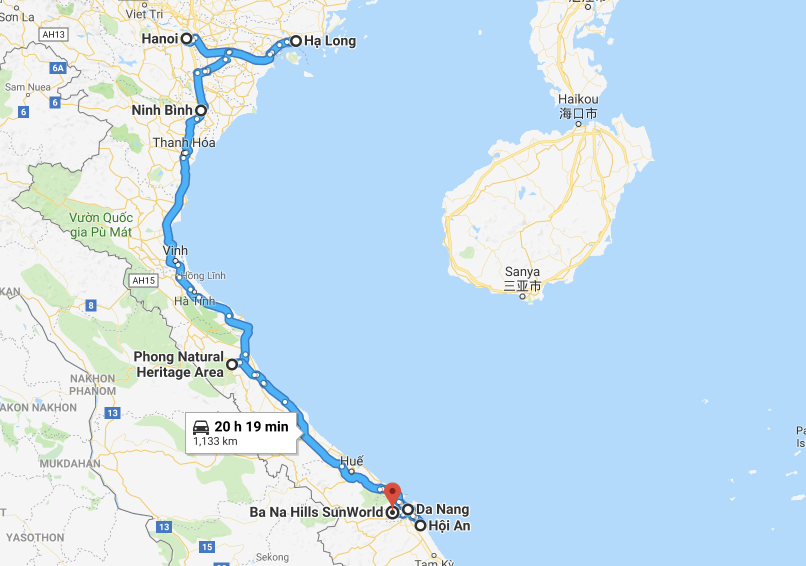 Vietnam Itinerary Route Map