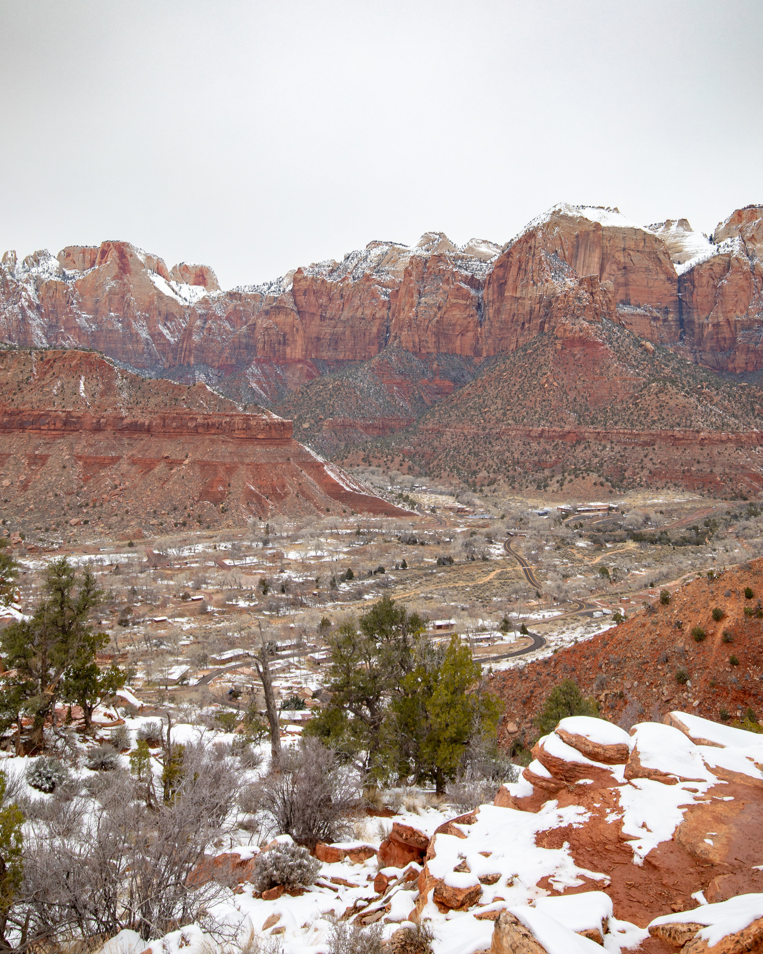 The views of the surrounding mountains from the top of the Watchman Trail