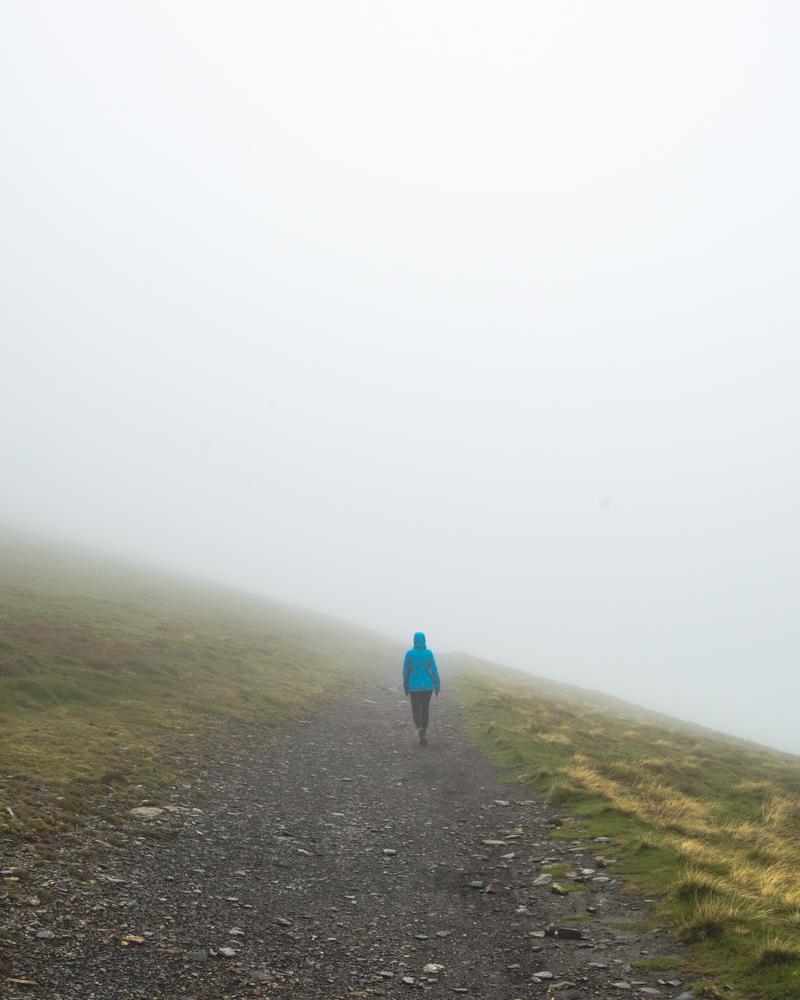 The fog rolls in on the summit of Skiddaw