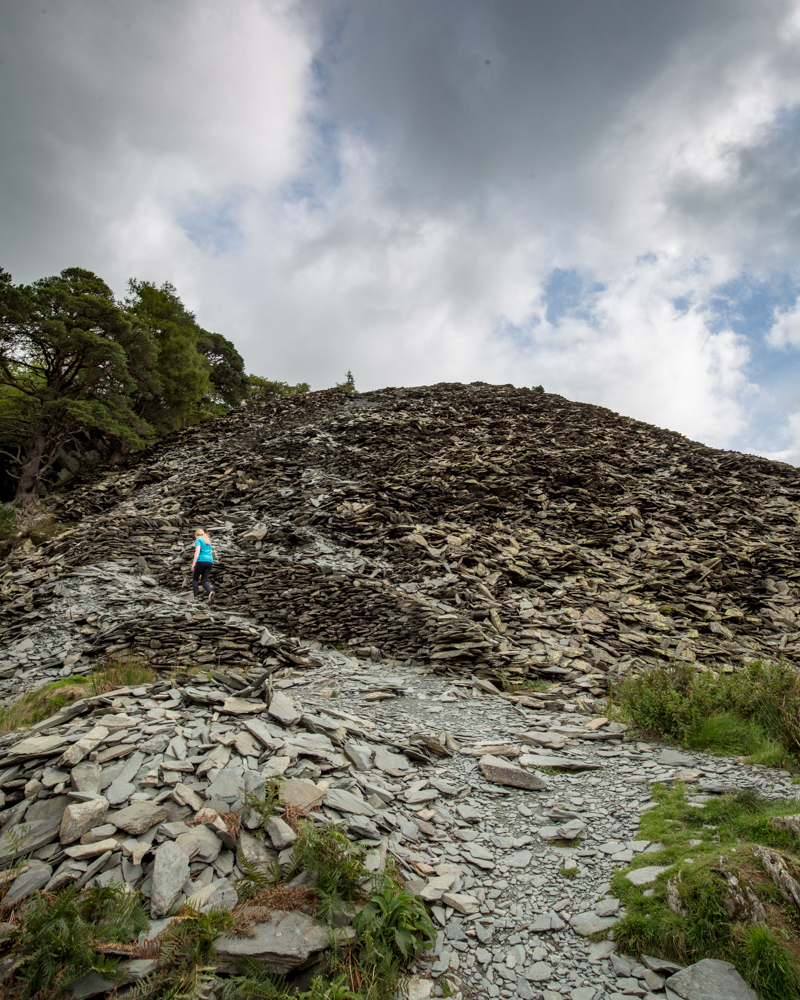 The path up the slate heap to Castle Crag