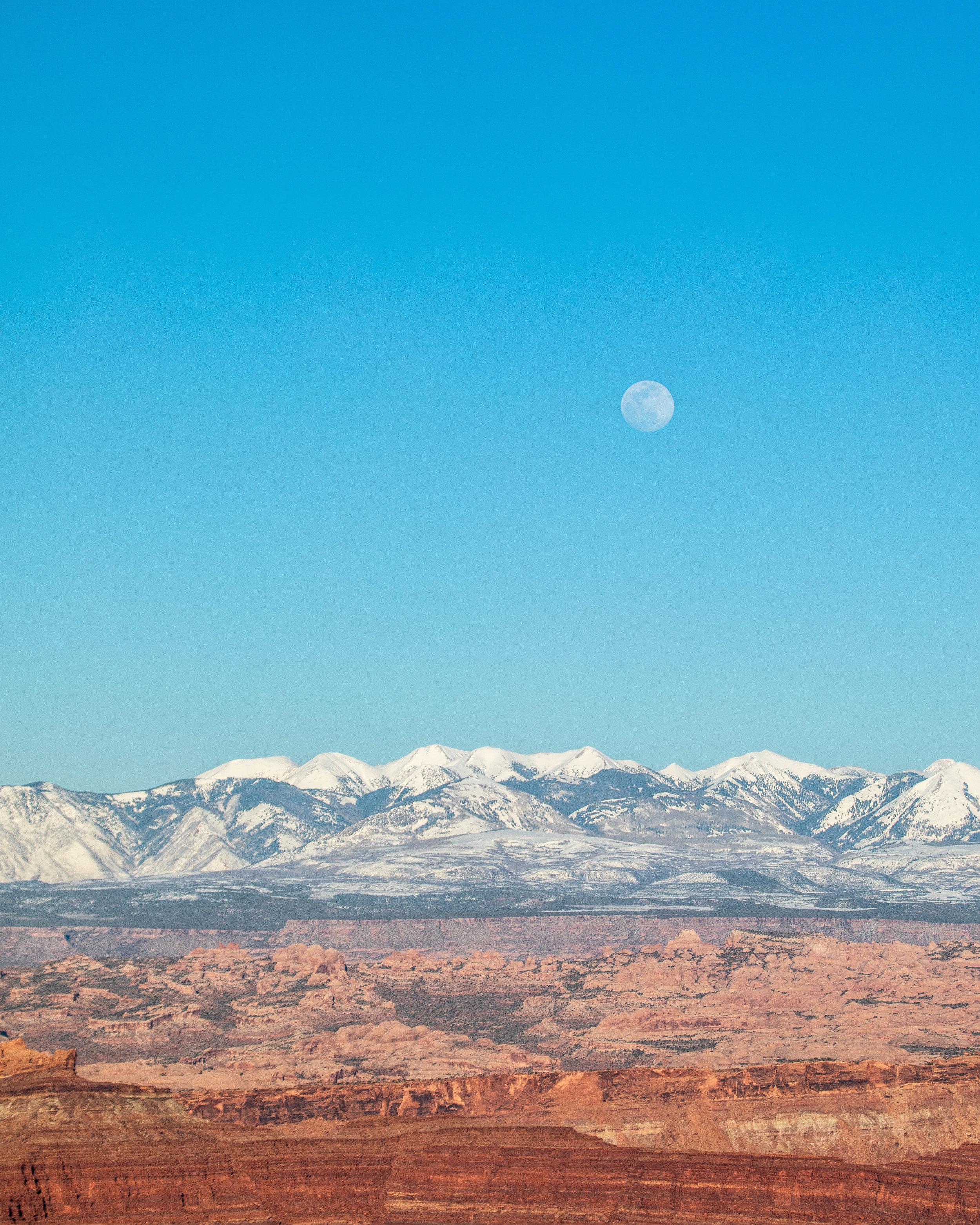 The moon over the La Sal Mountains
