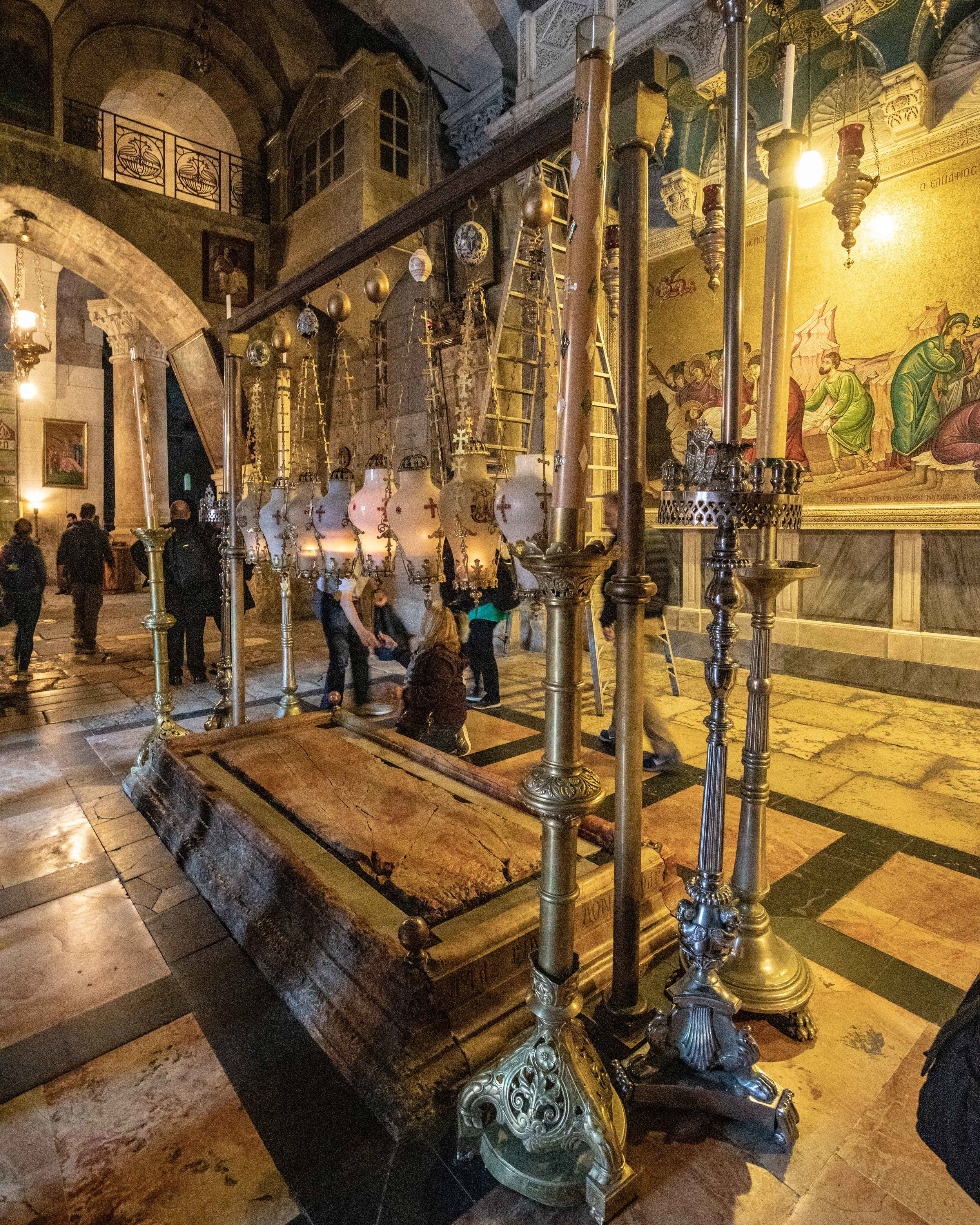 Stone of Anointing - where Jesus was prepared for burial