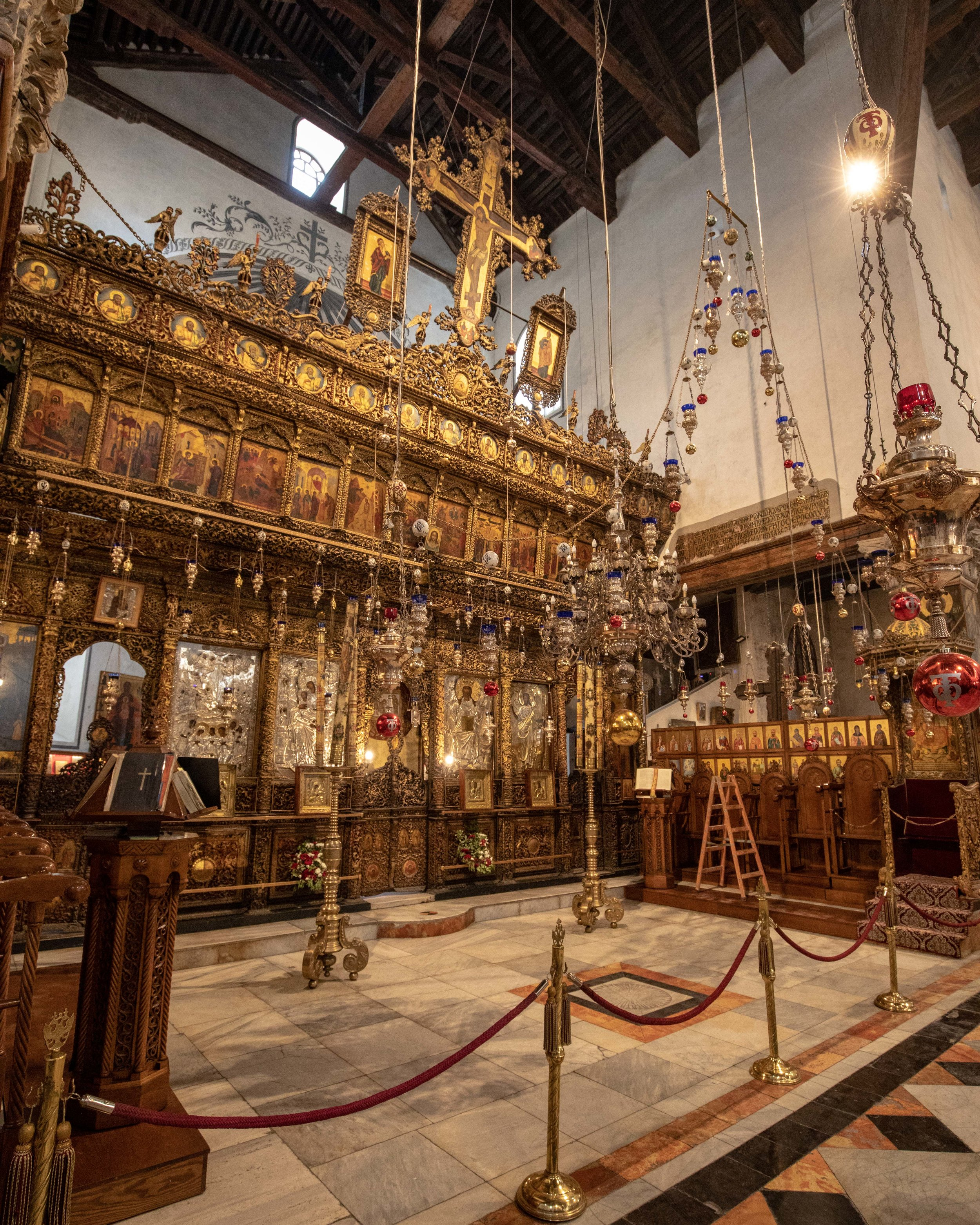 The interior of the Church of the Nativity - How to get to Bethlehem