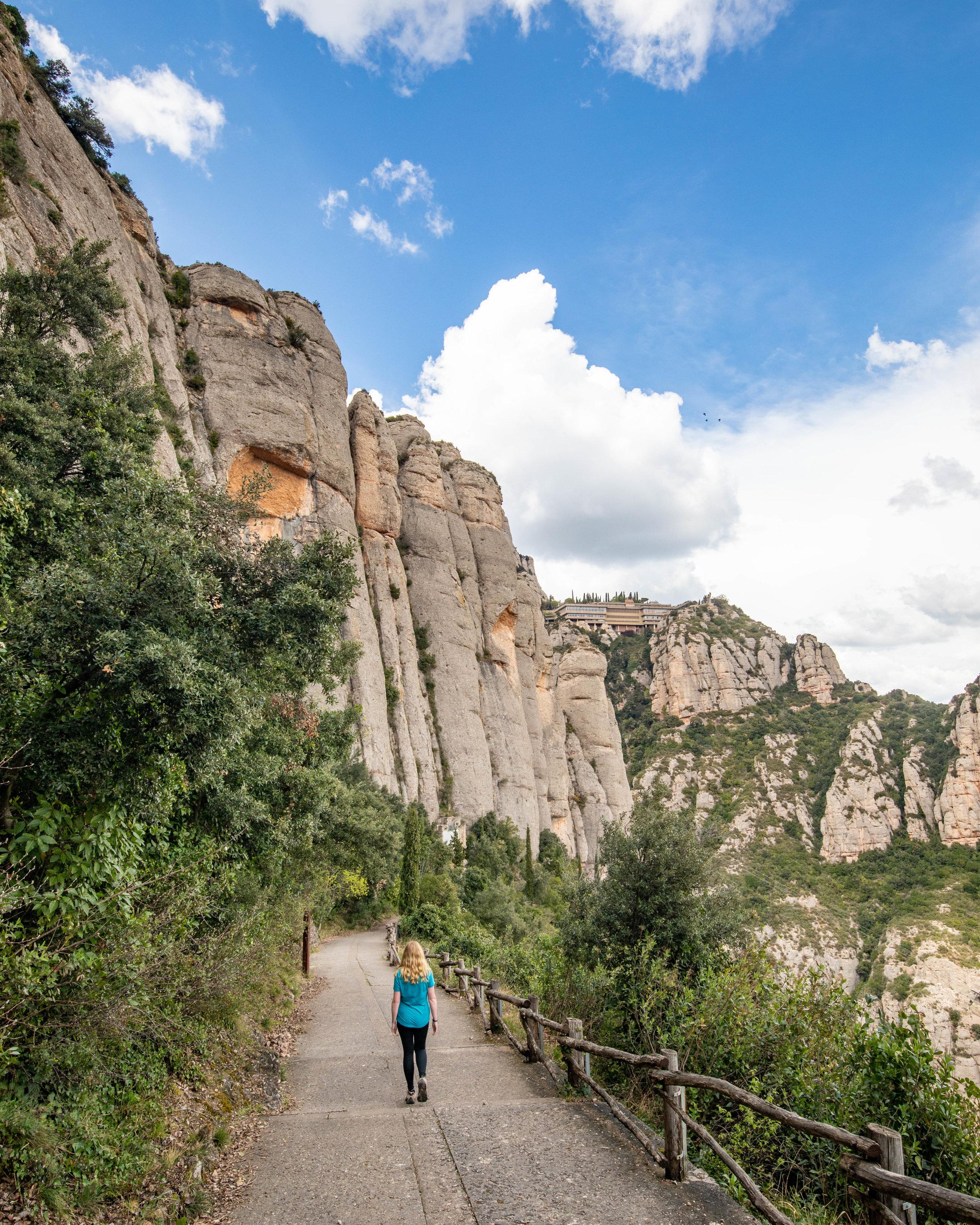 Hiking up Montserrat