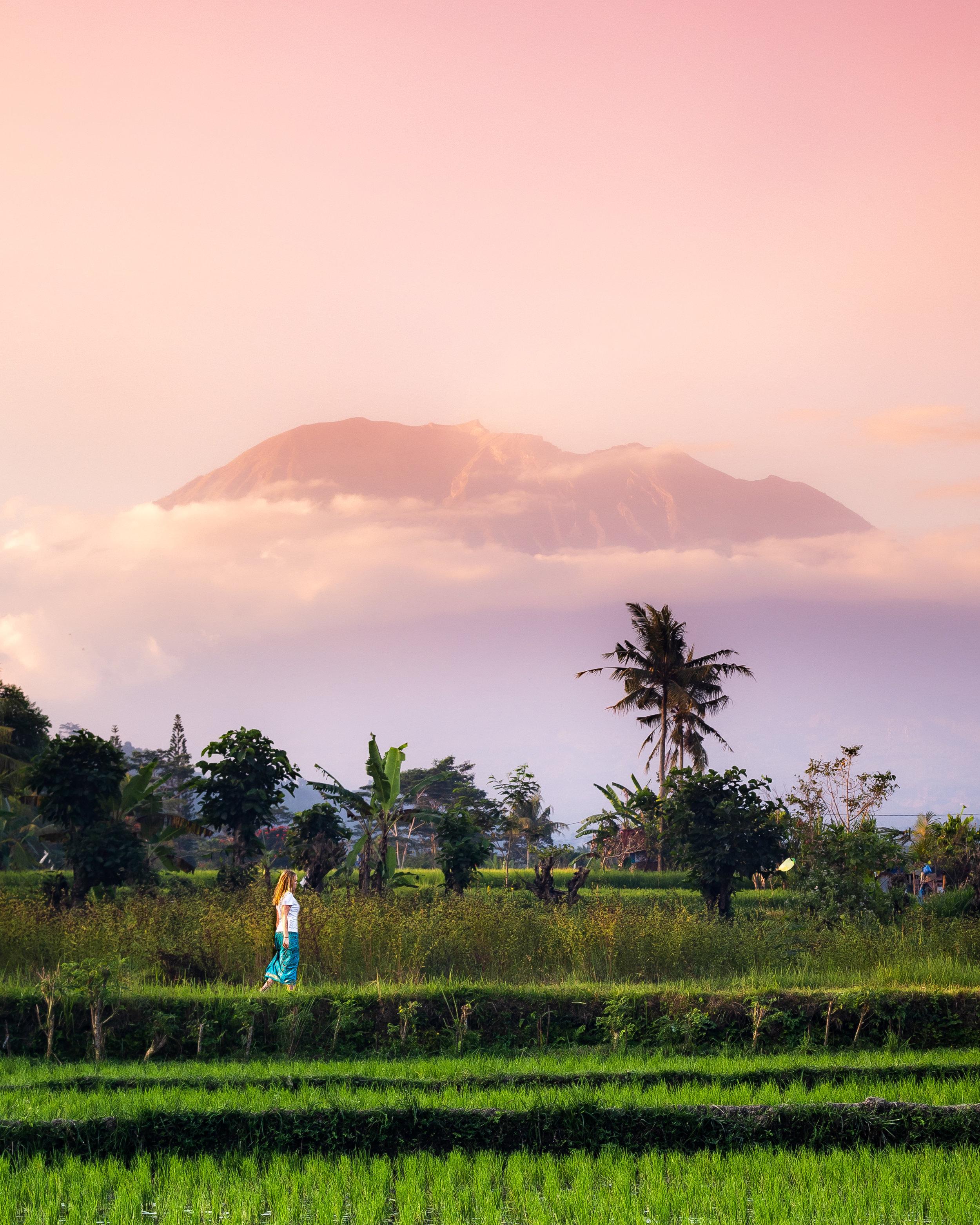 Mount Agung at sunset - things to do in Sidemen Bali
