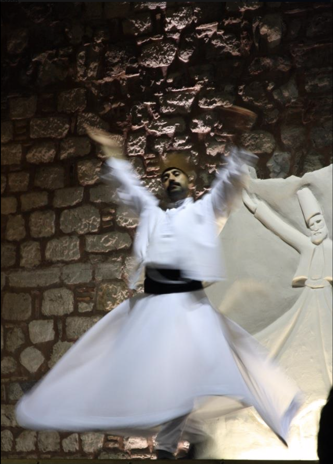 The whirling Dervish at Dervish Cafe in Sultanahmet as photos are not allowed at  Hodjapasha