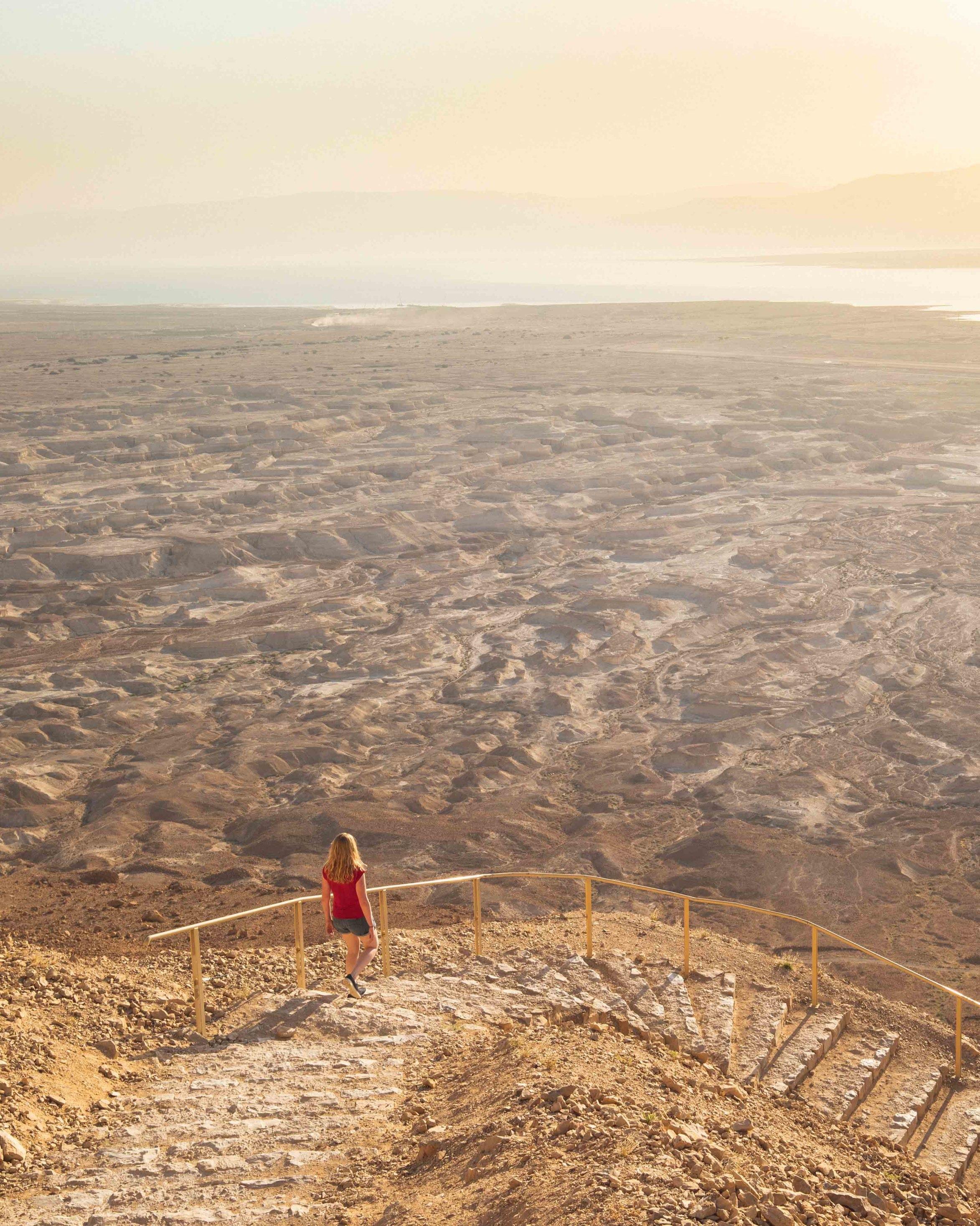 Hiking the snake path at Masada