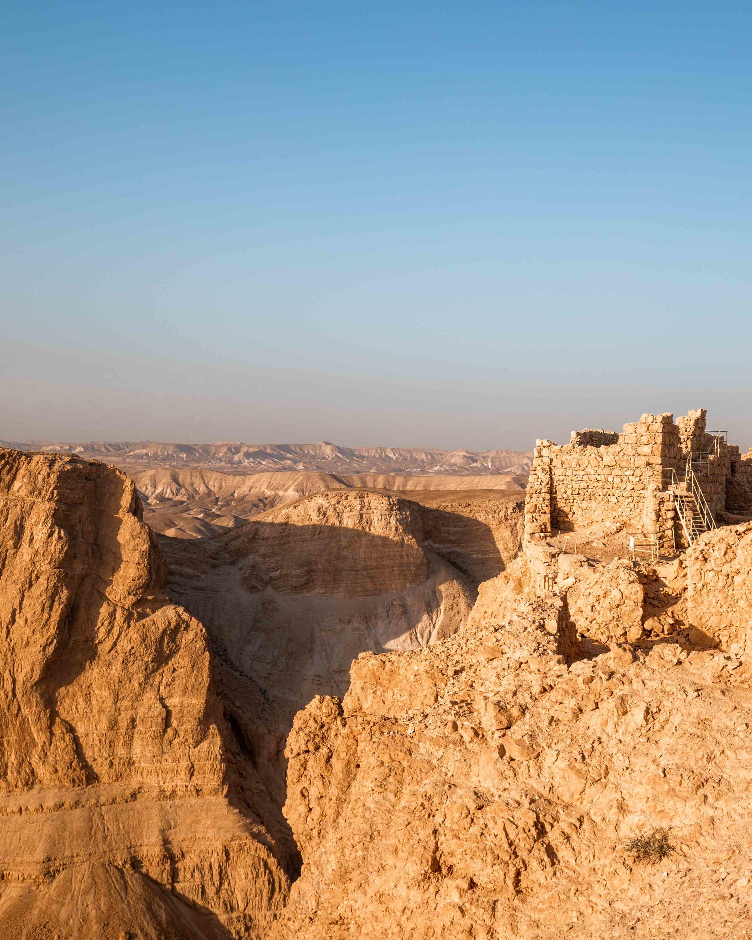 The Masada Fortress at sunrise